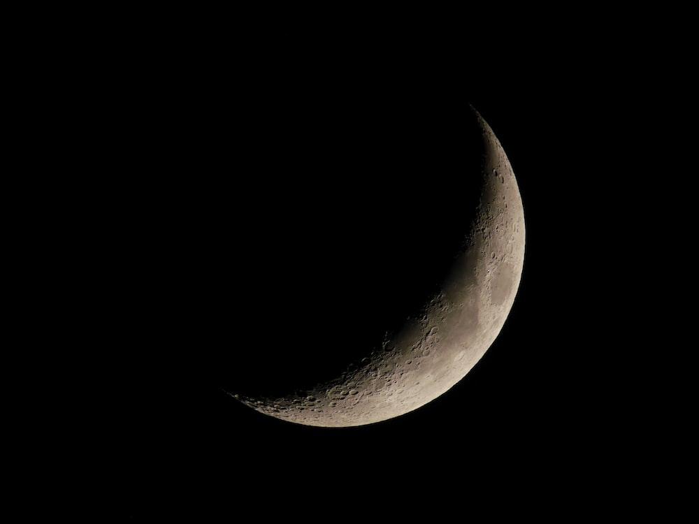 crescent moon at night