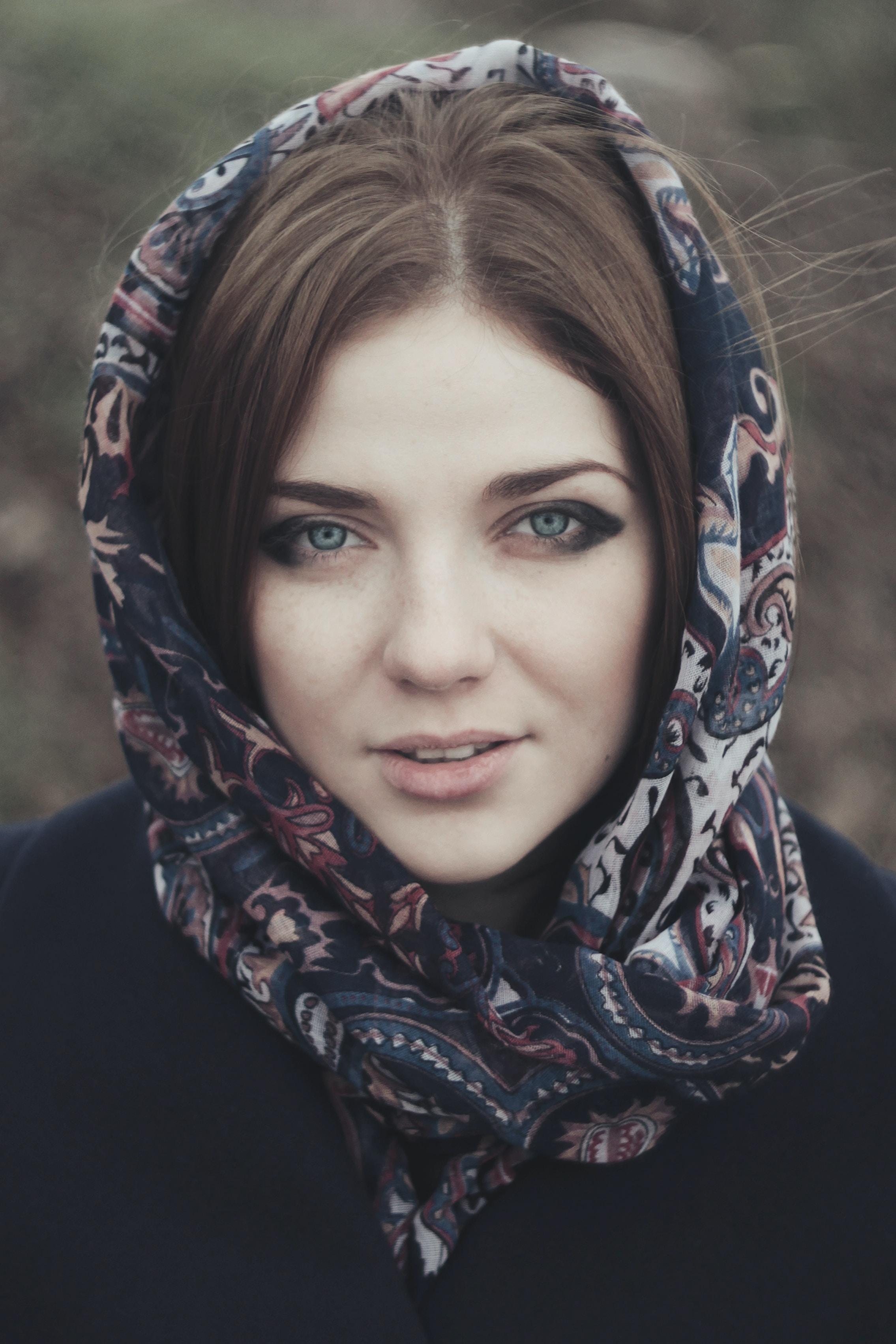 woman with floral hijab headscarf portrait photo