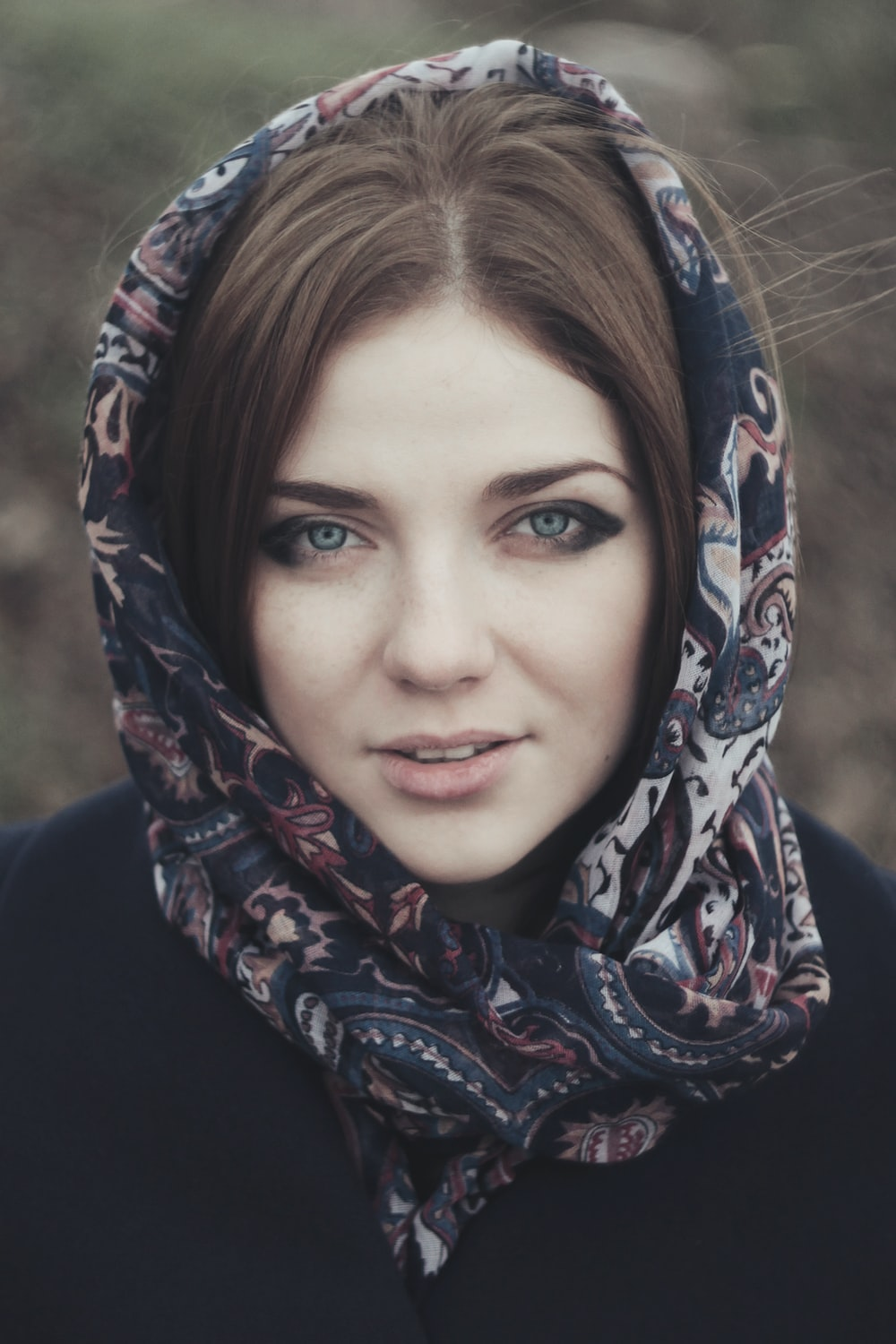 woman with floral hijab headscarf portrait photo