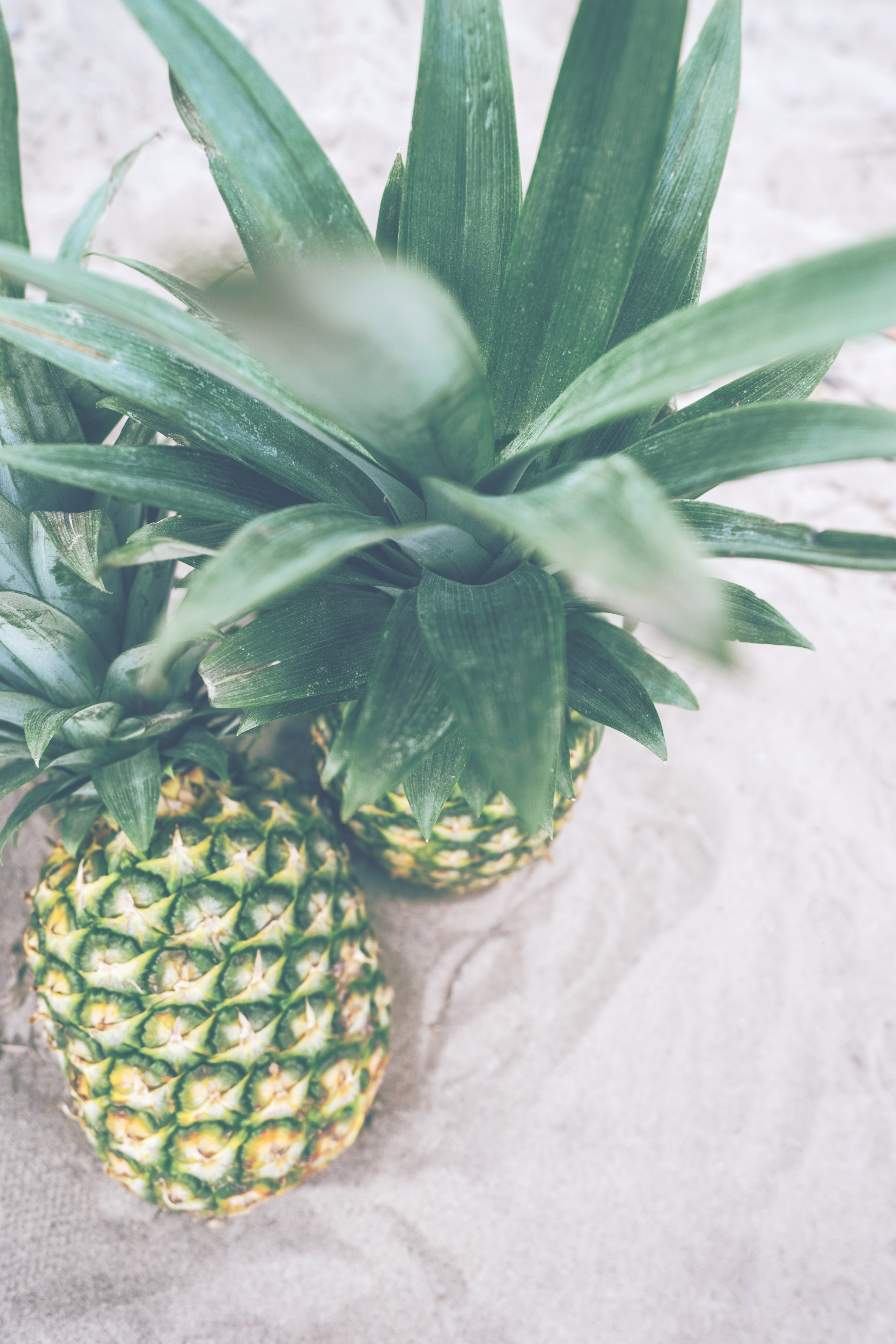 Two pineapples next to each other.
