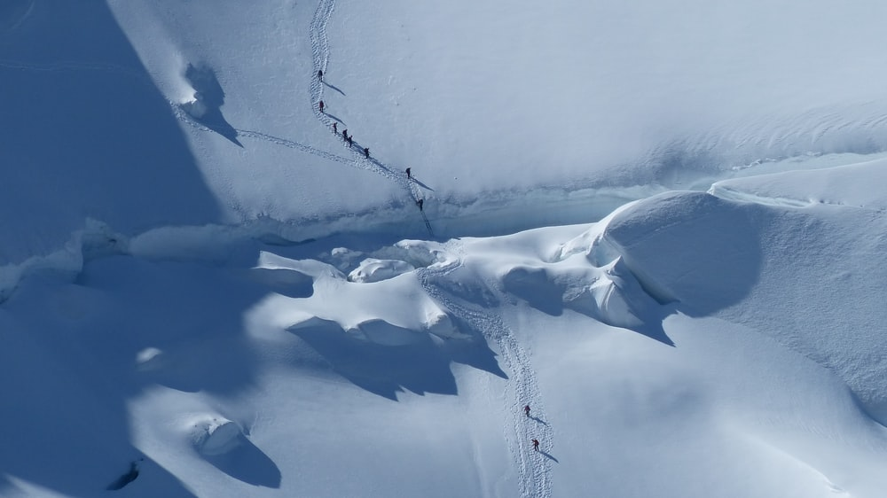 aerial photography of group of people trekking on snow