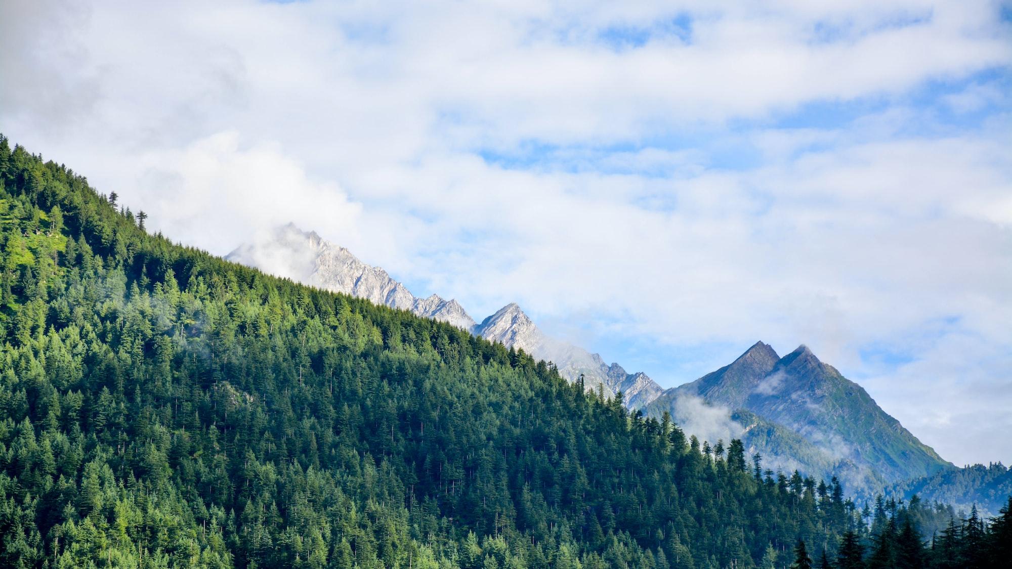 Granite mountains among hills