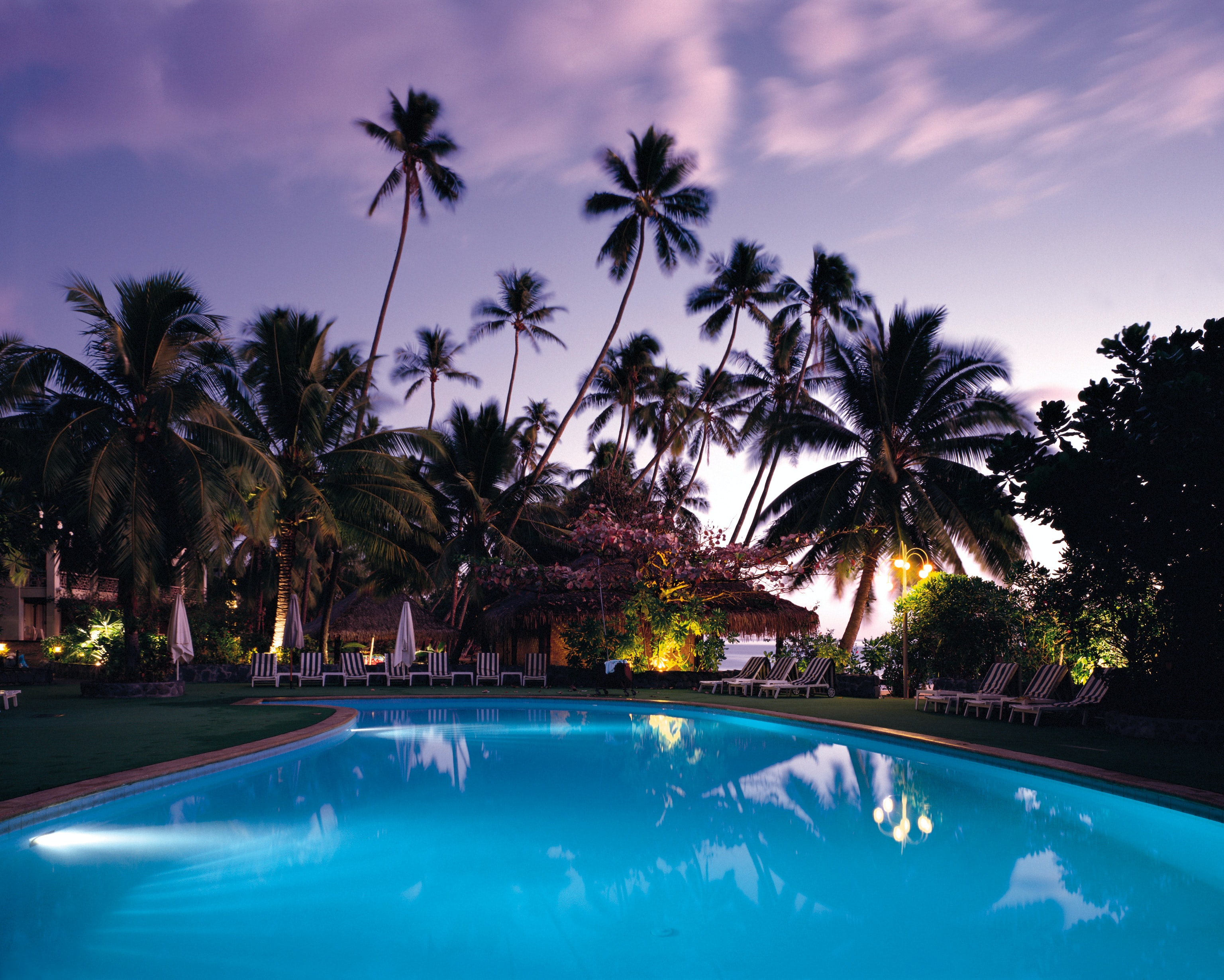 Palm trees and deck chairs near a blue swimming pool at sunset