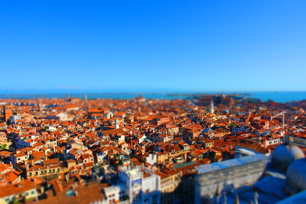 bird's eye view of town during daytime