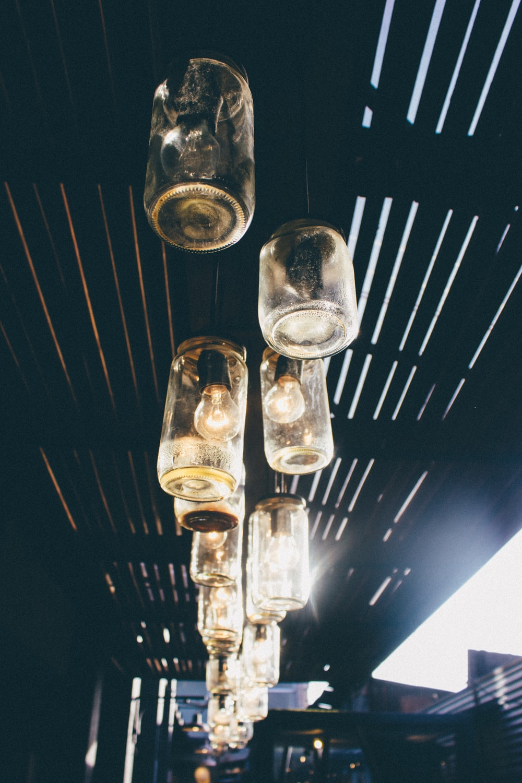 clear glass jar pendant lamp lot