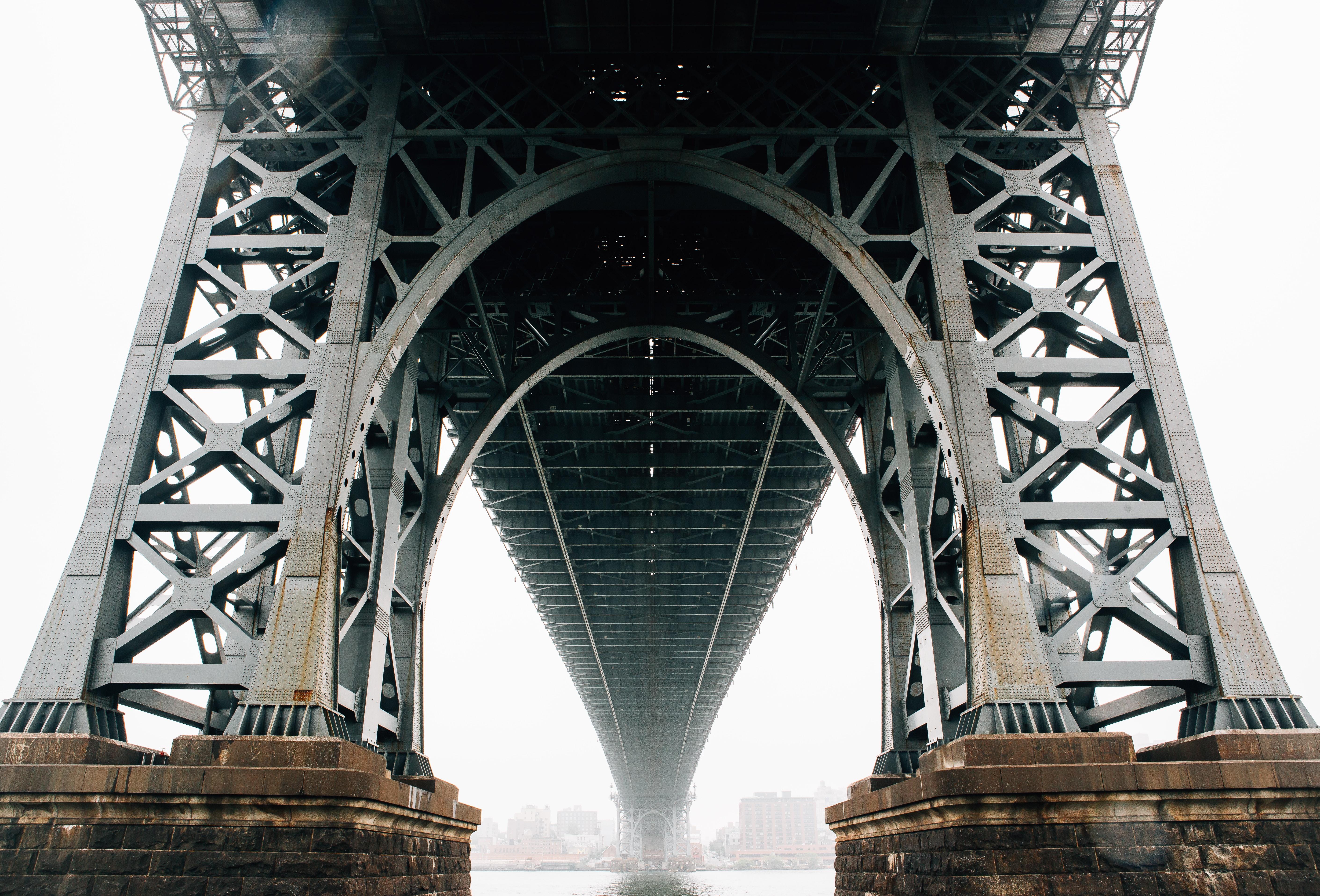 bottom view of bridge during day