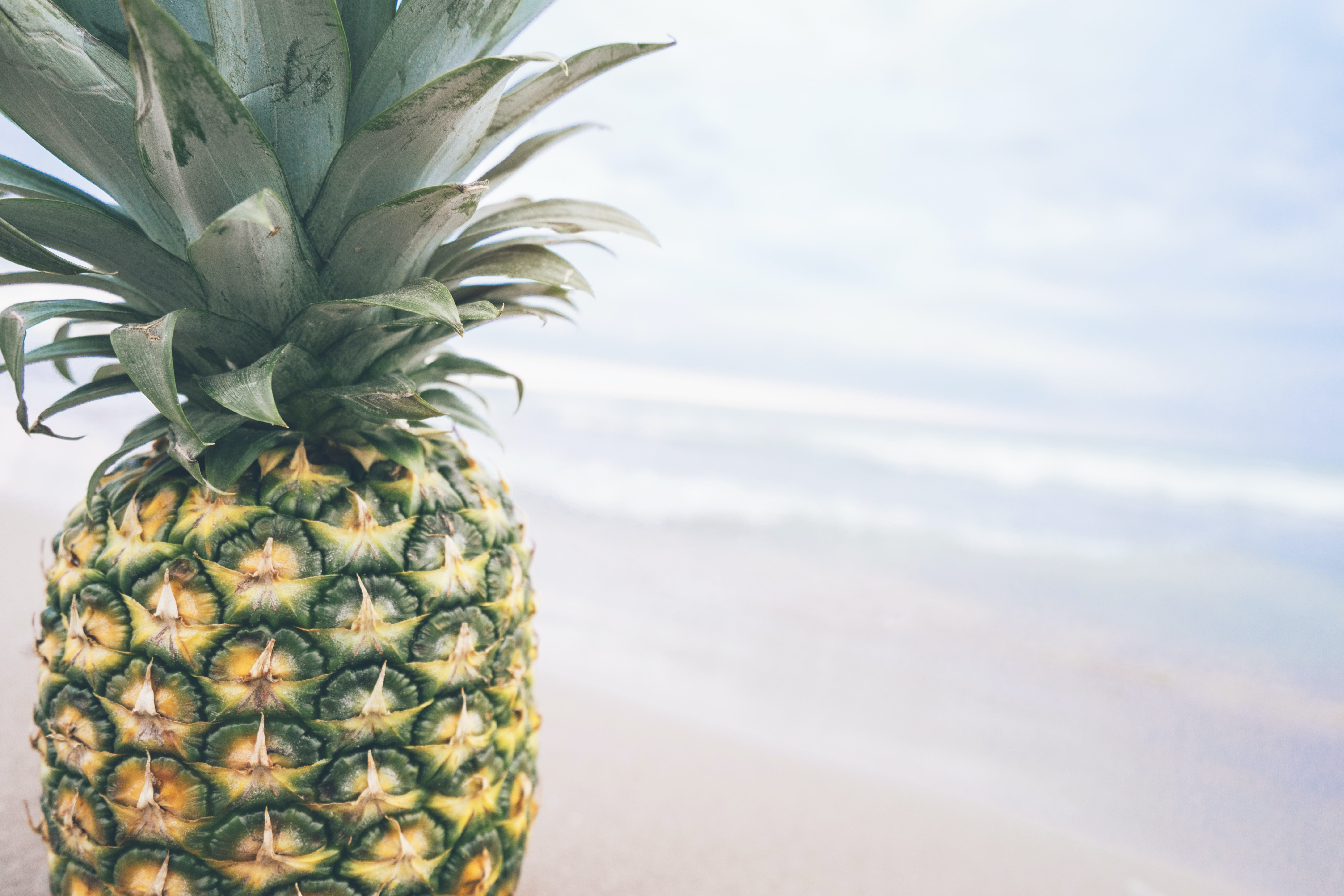 A pineapple with the sky in the background.