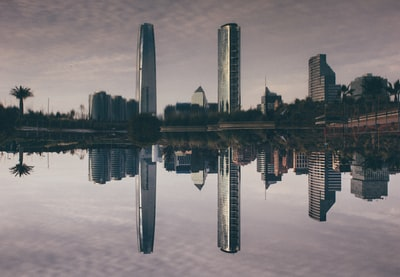 reflective photography of buildings