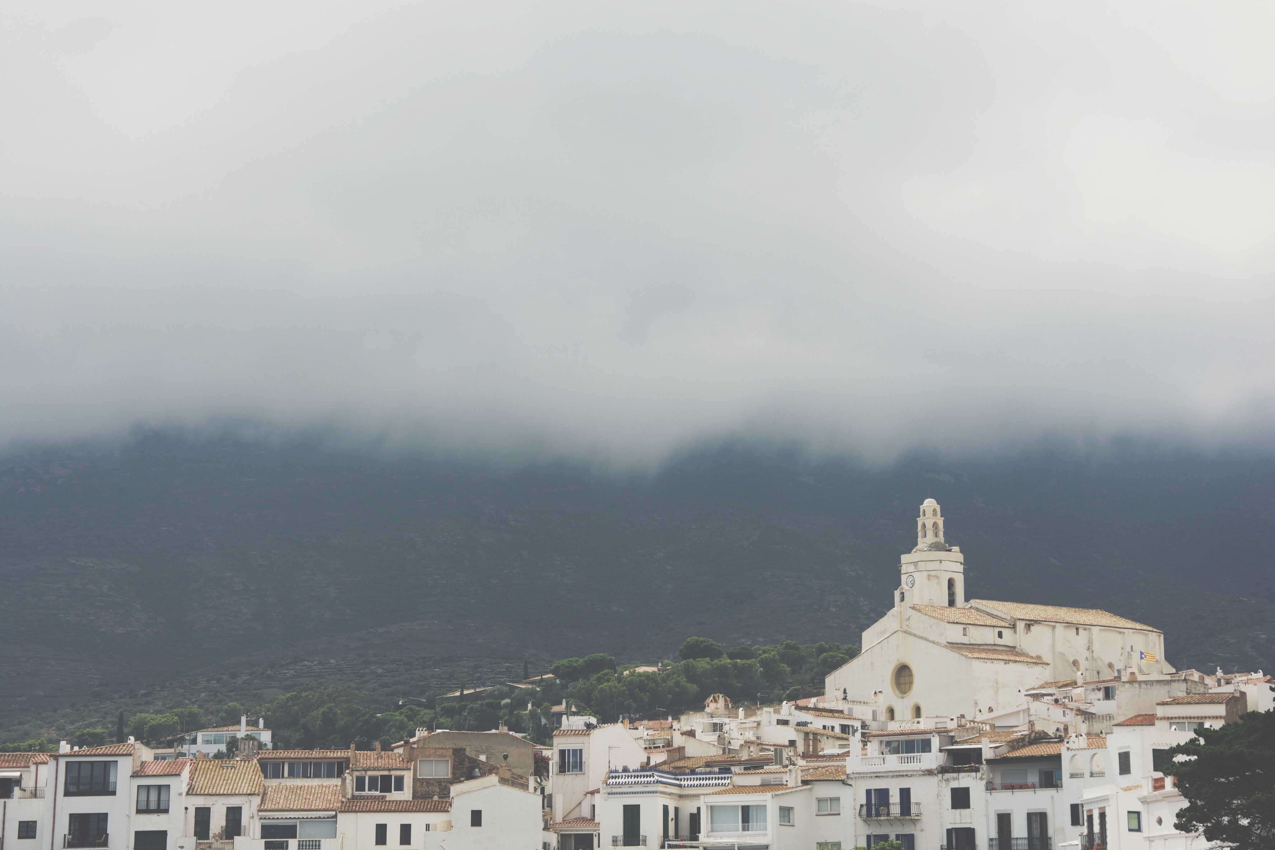 Aerial view of white buildings in Cadaqués