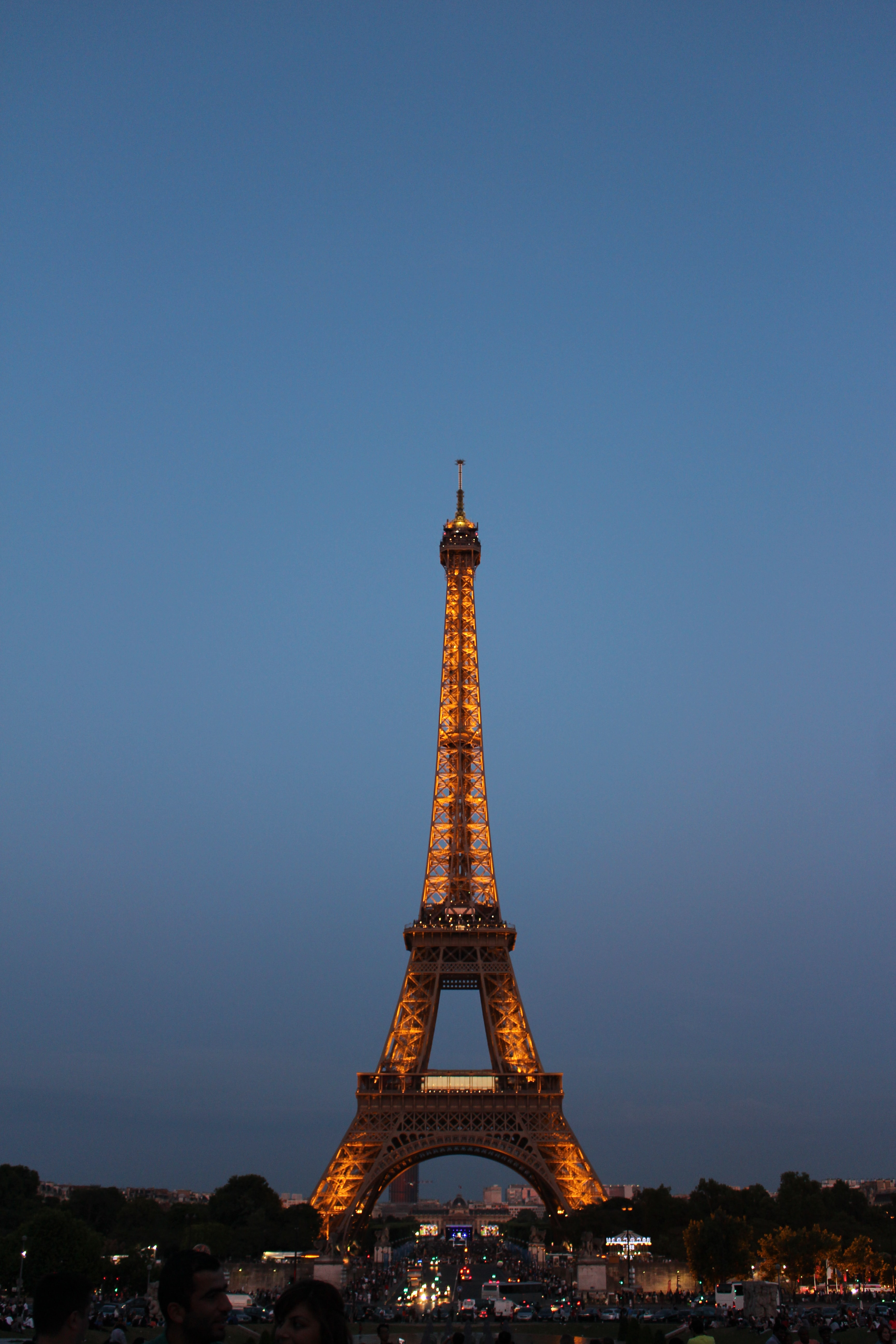 The Eiffel Tower monument with the Paris cityscape in the background.