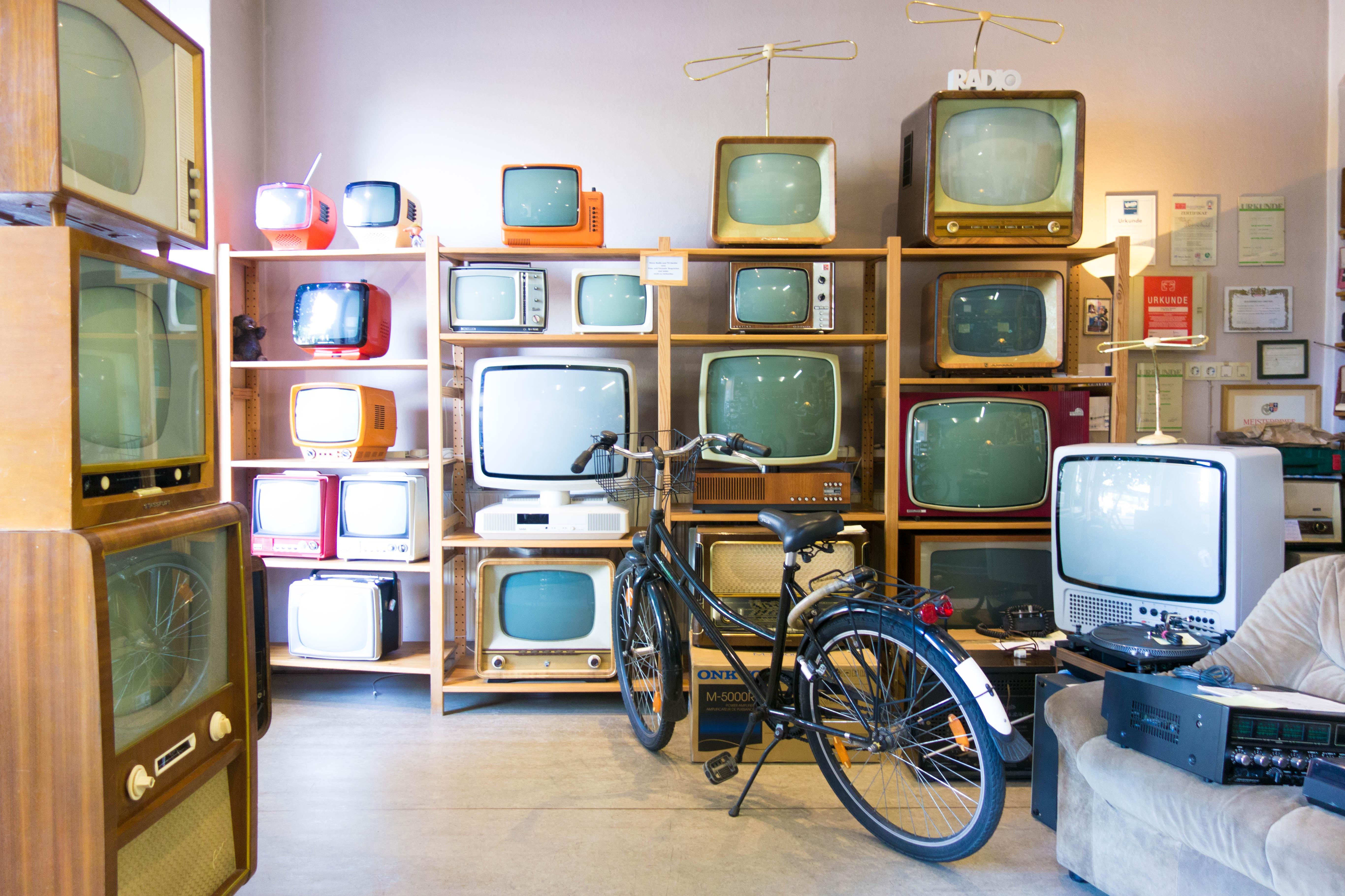 CRT TVs on rack