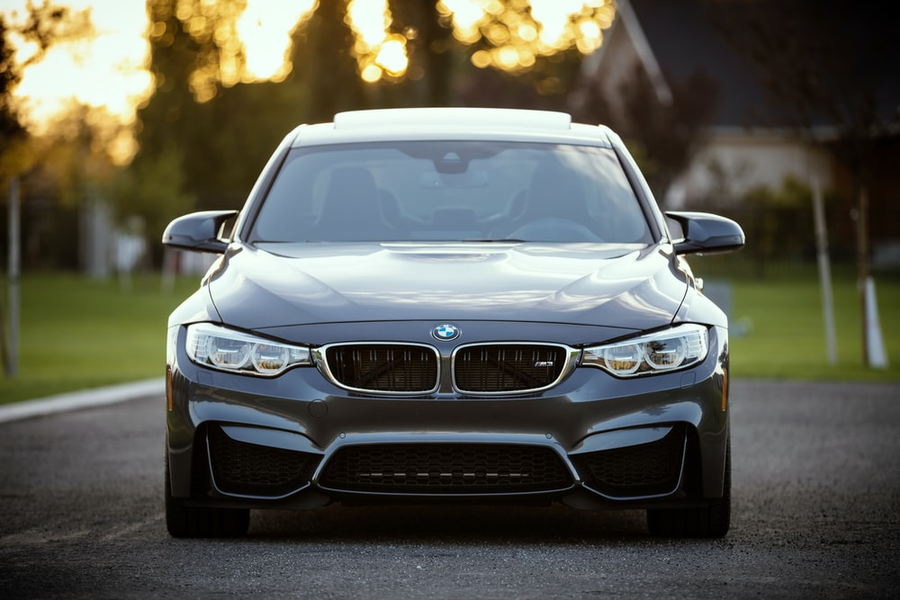 black BMW car surrounded by grass field