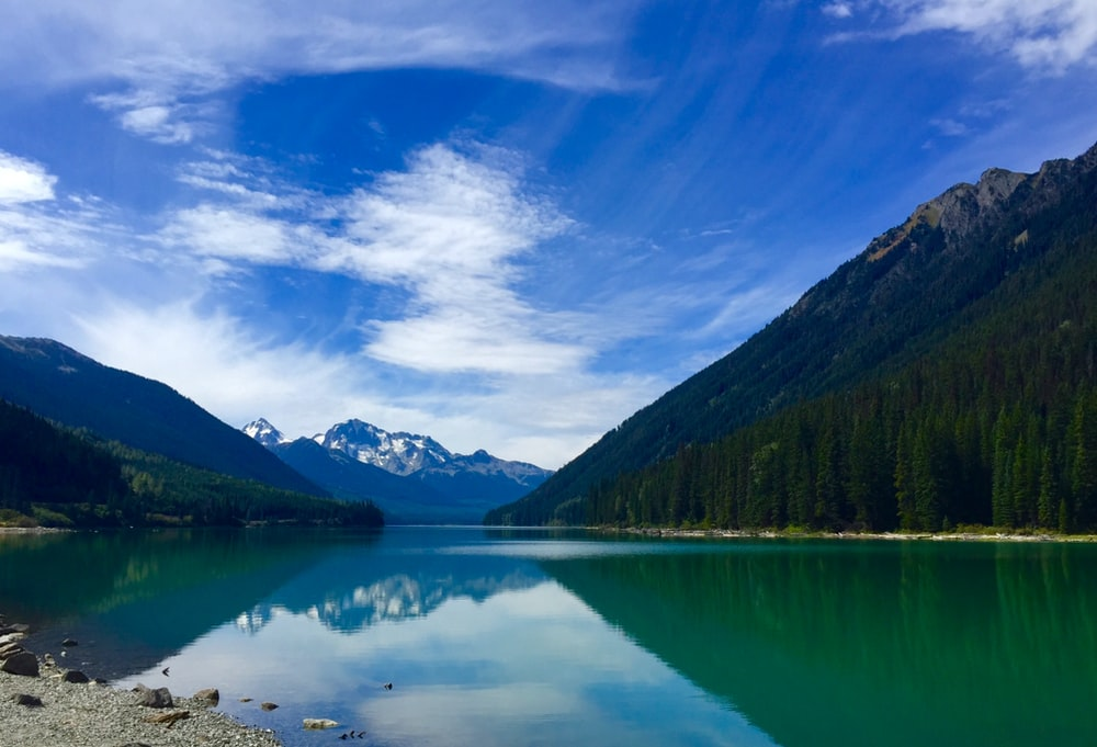 reflective photo of mountains and lake under blue sky
