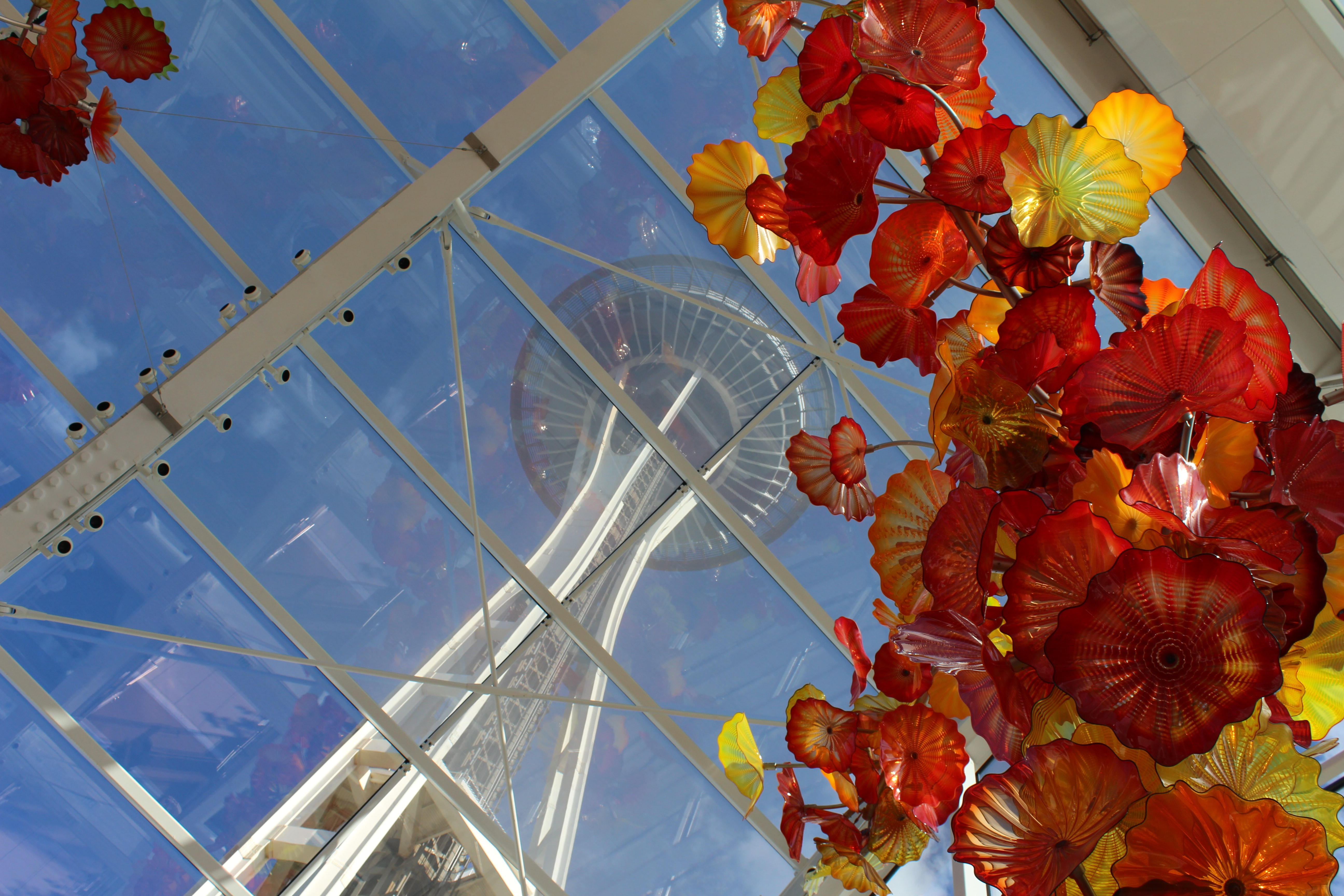worm view of space needle during daytime