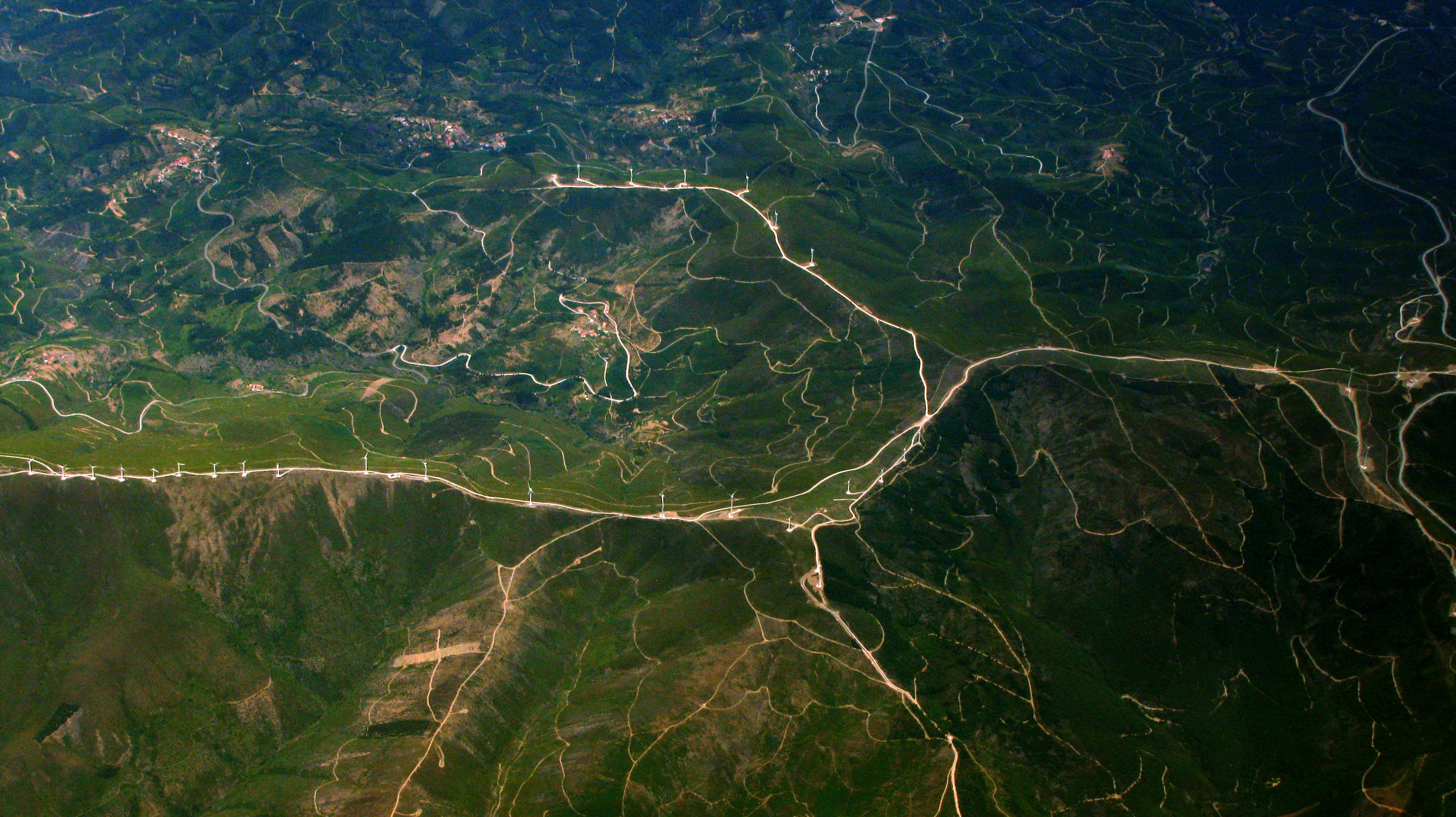 aerial photography of roads on hill