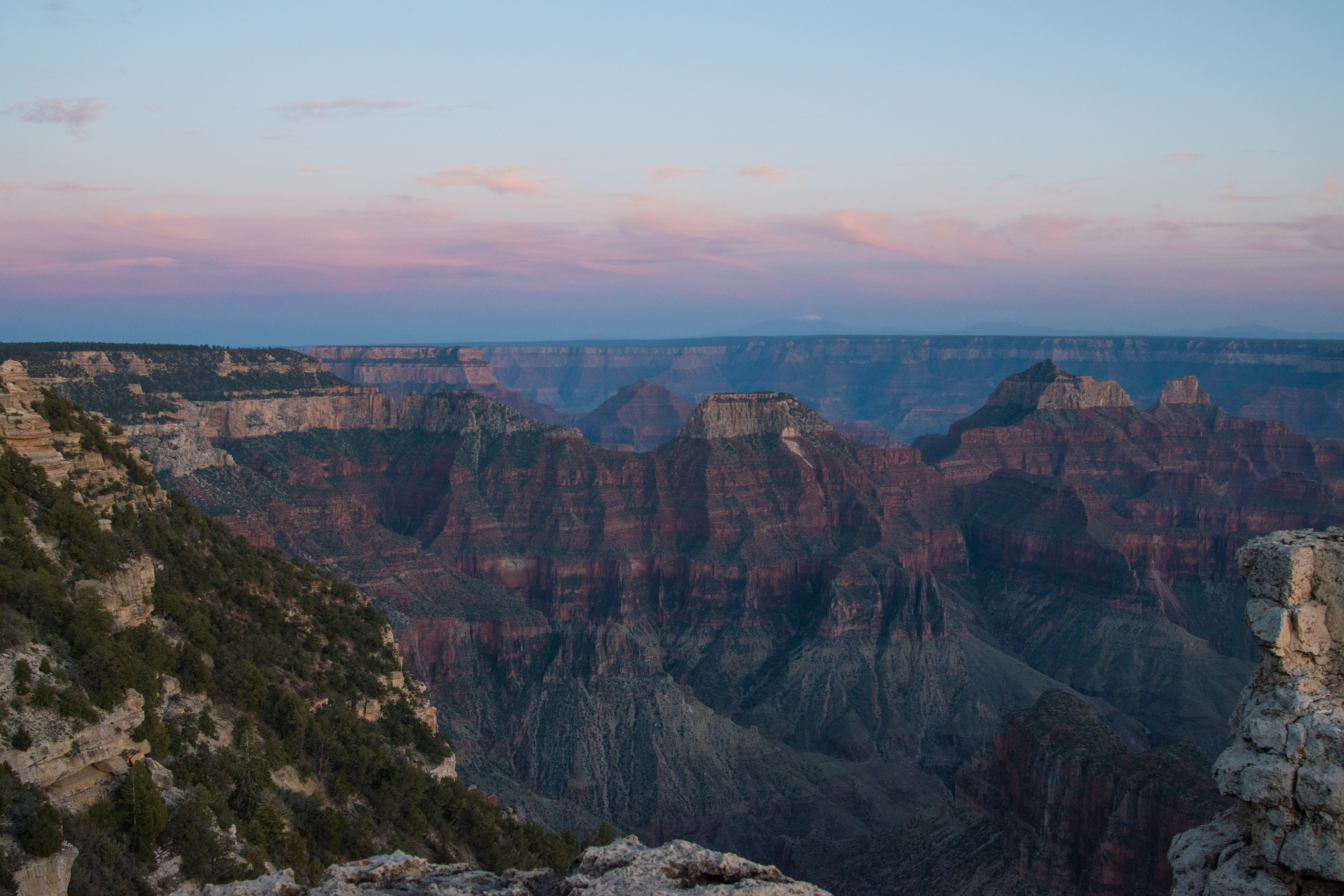 Colorful sunset over the Grand Canyon's mountain landscape