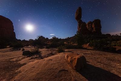 Starry sunset over the desert