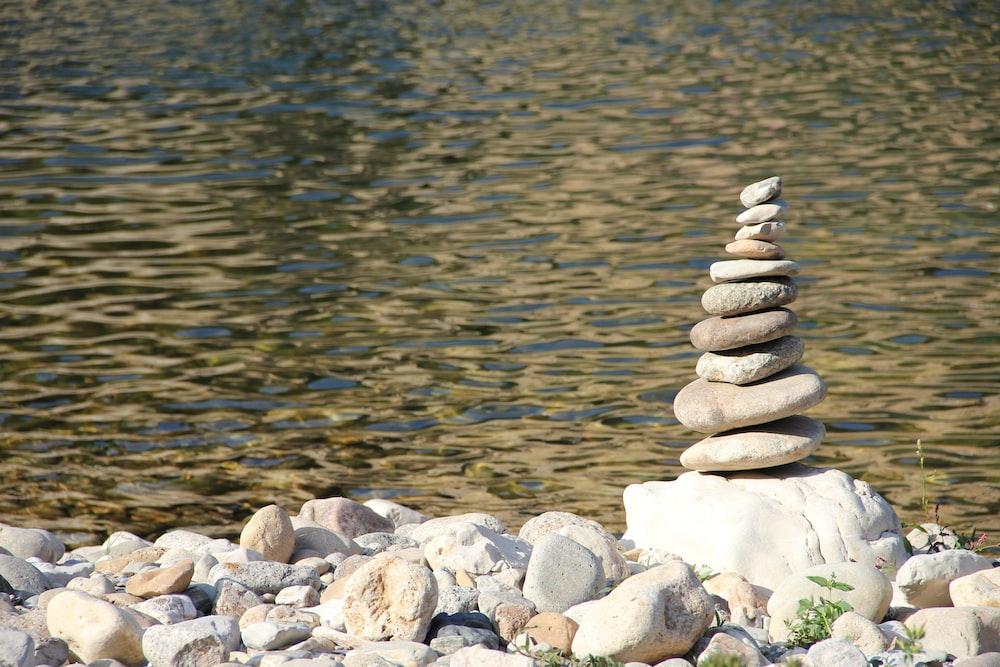 stacks of gray pebbles
