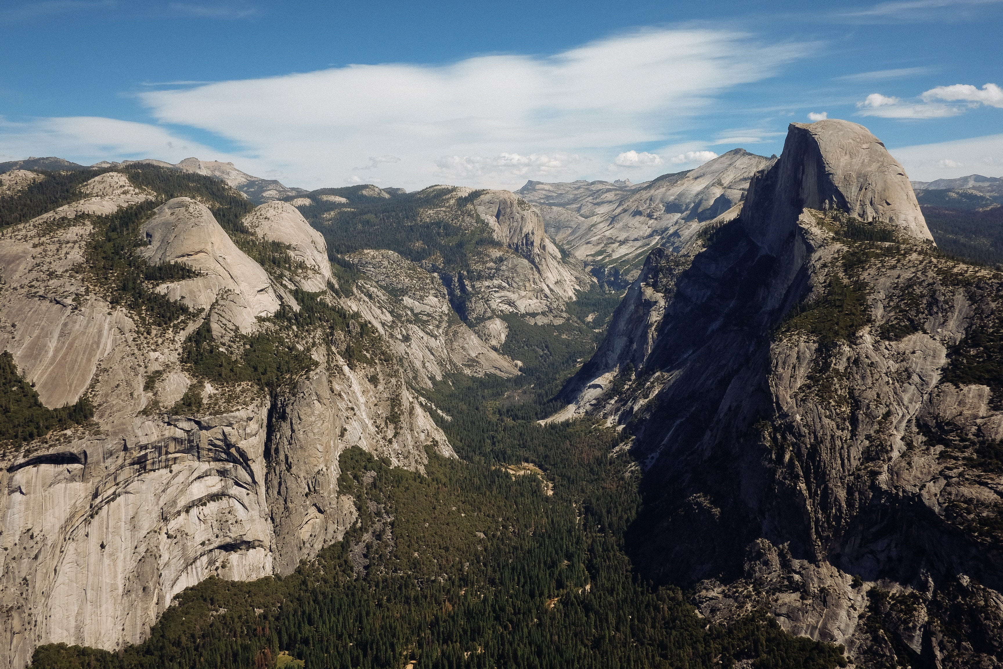 A high view of rock faces in the Yosemite Valley