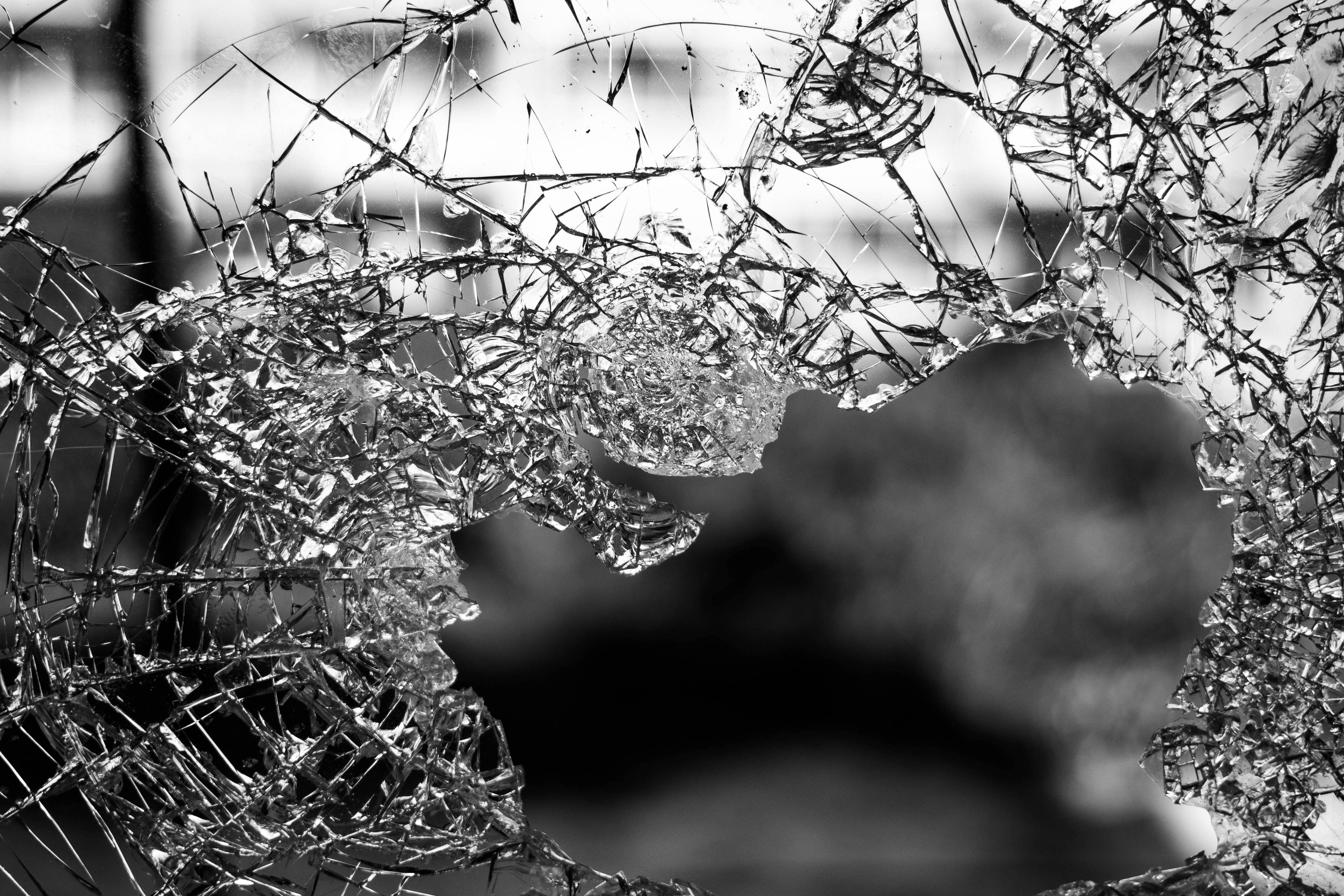 macrophotography of cracked glass screen