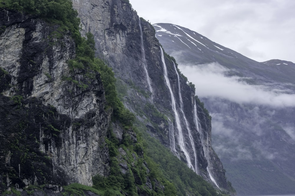 waterfalls through cliffs