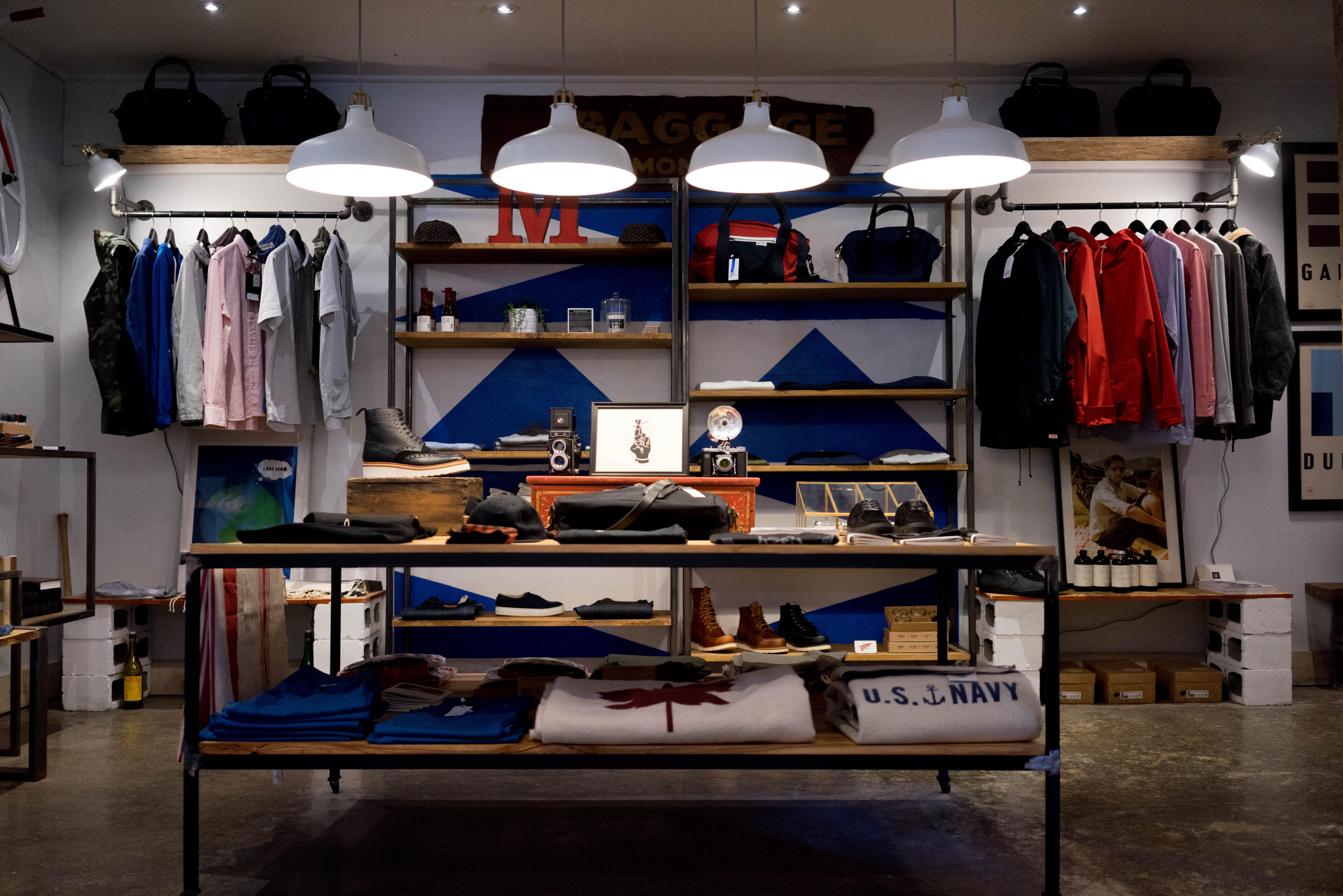 Clothes and accessories in an apparel store