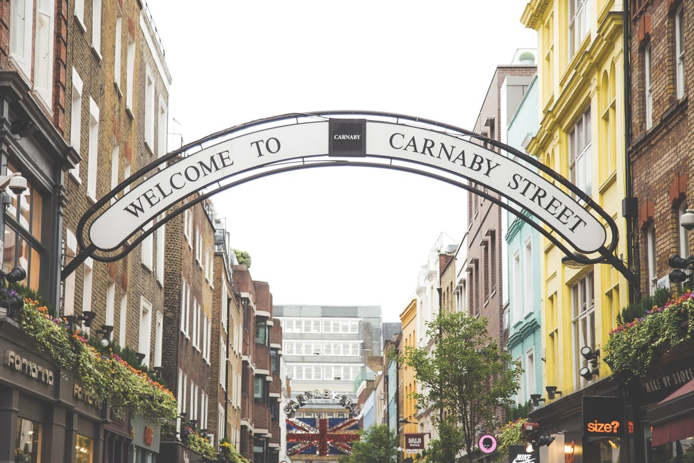 black and white Welcome to Carnaby Street signage