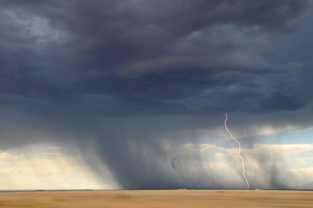 lightning struck on desert