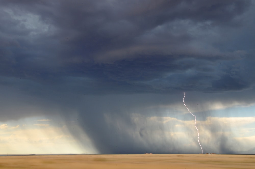 lightning struck on desert