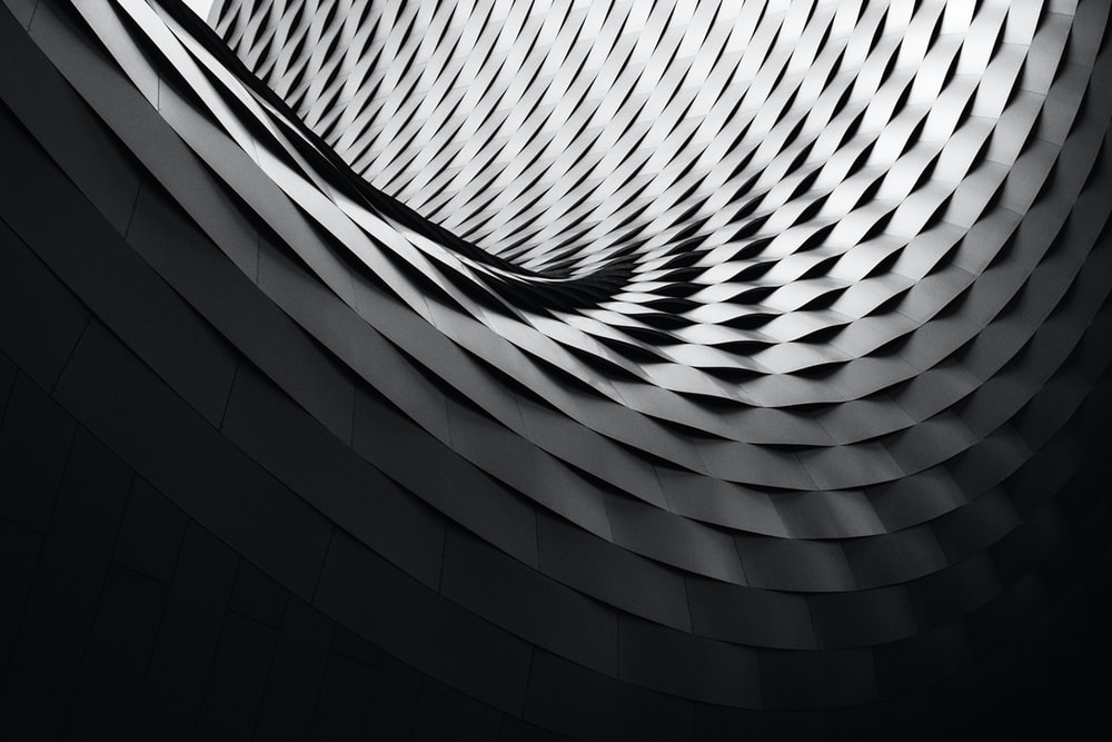 Abstract Futuristic Geometric Black And White Architecture With Shadow At Art