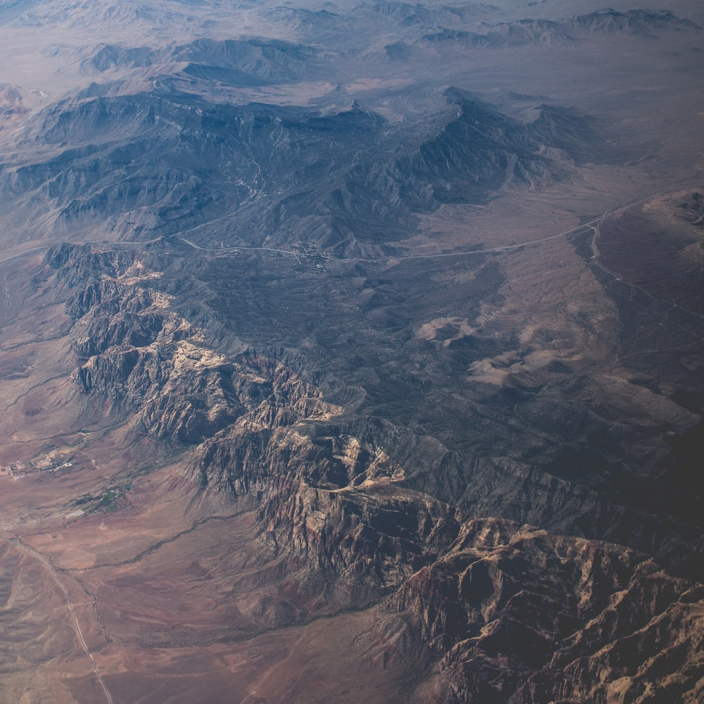 aerial photography of mountain ranges