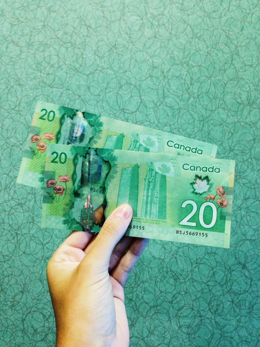 person holding two 20 Canadian dollar banknotes