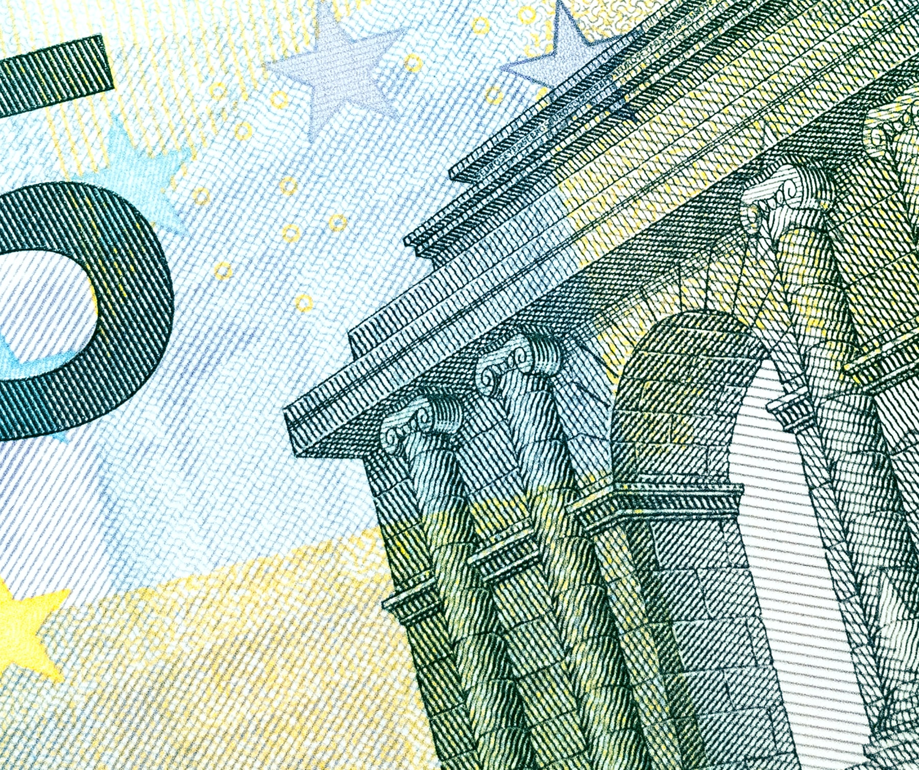 A detailed close-up of a classical building on a five euro note