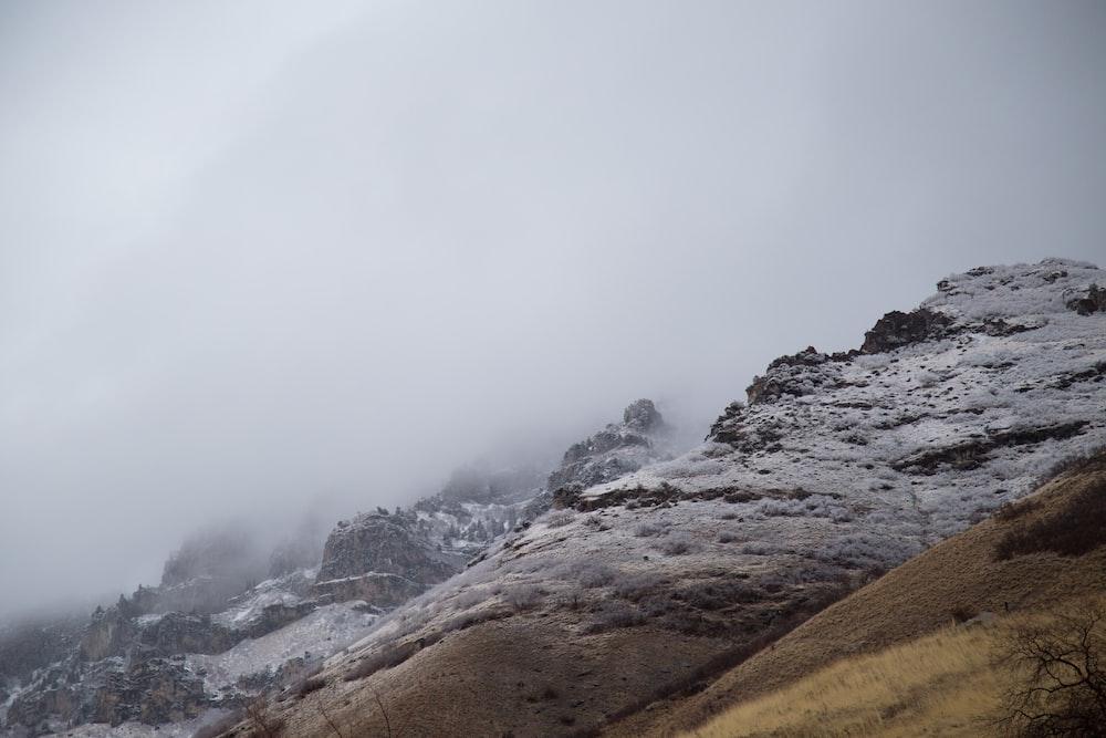 mountain range with fogs