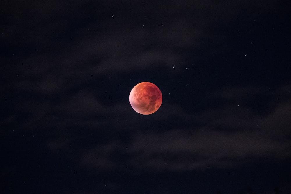 blood moon during night
