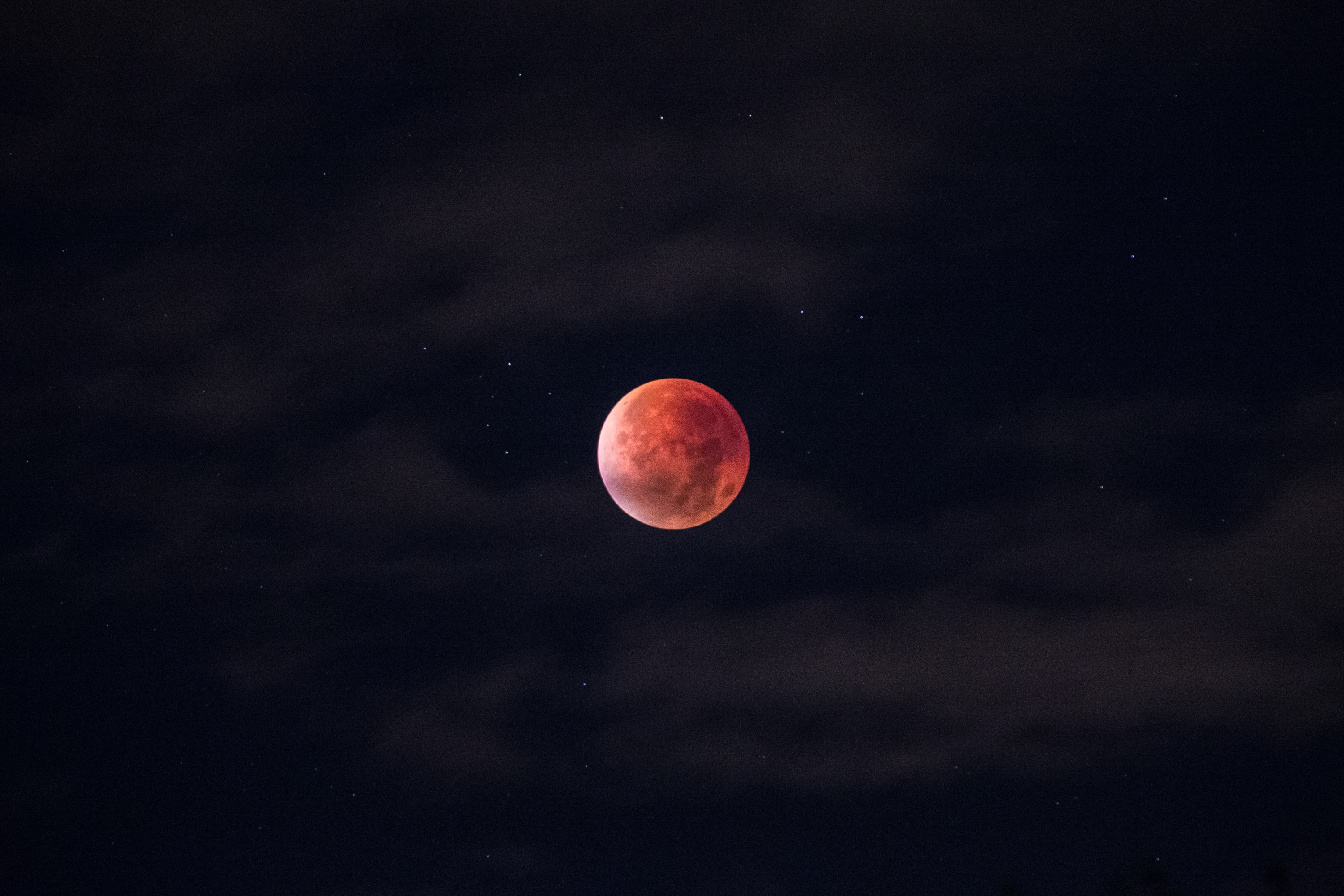 A blood moon on the sky of Stockholm on account of the lunar eclipse