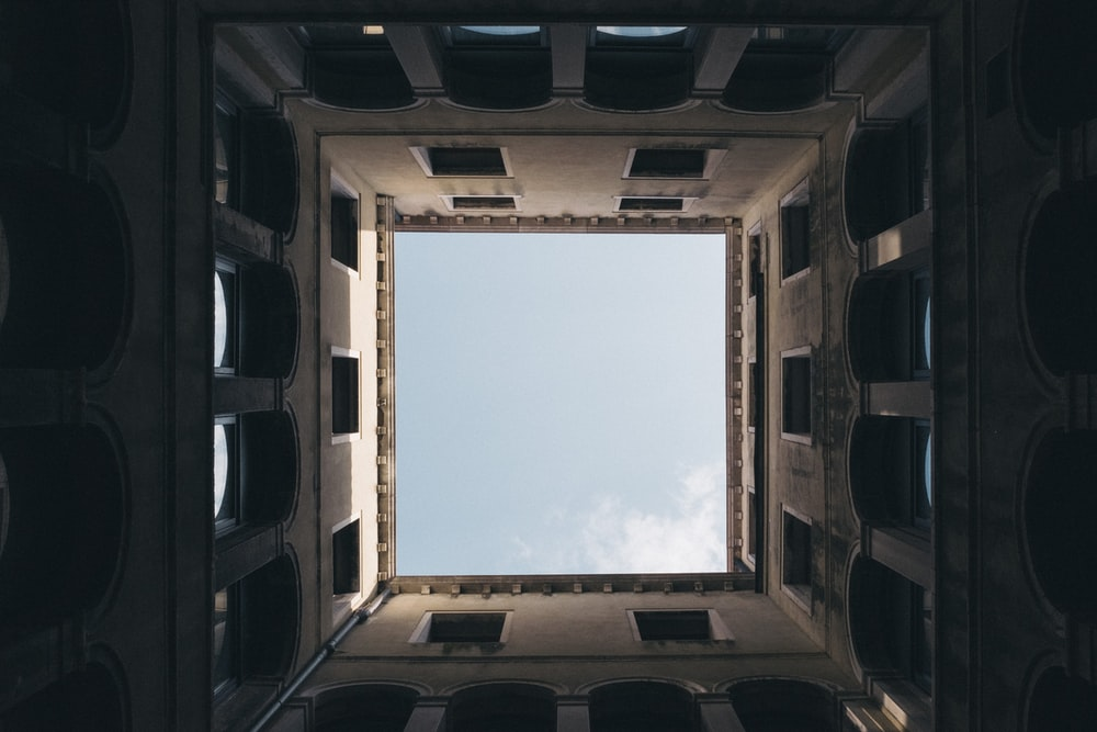 worm's eye view inside a concrete structure