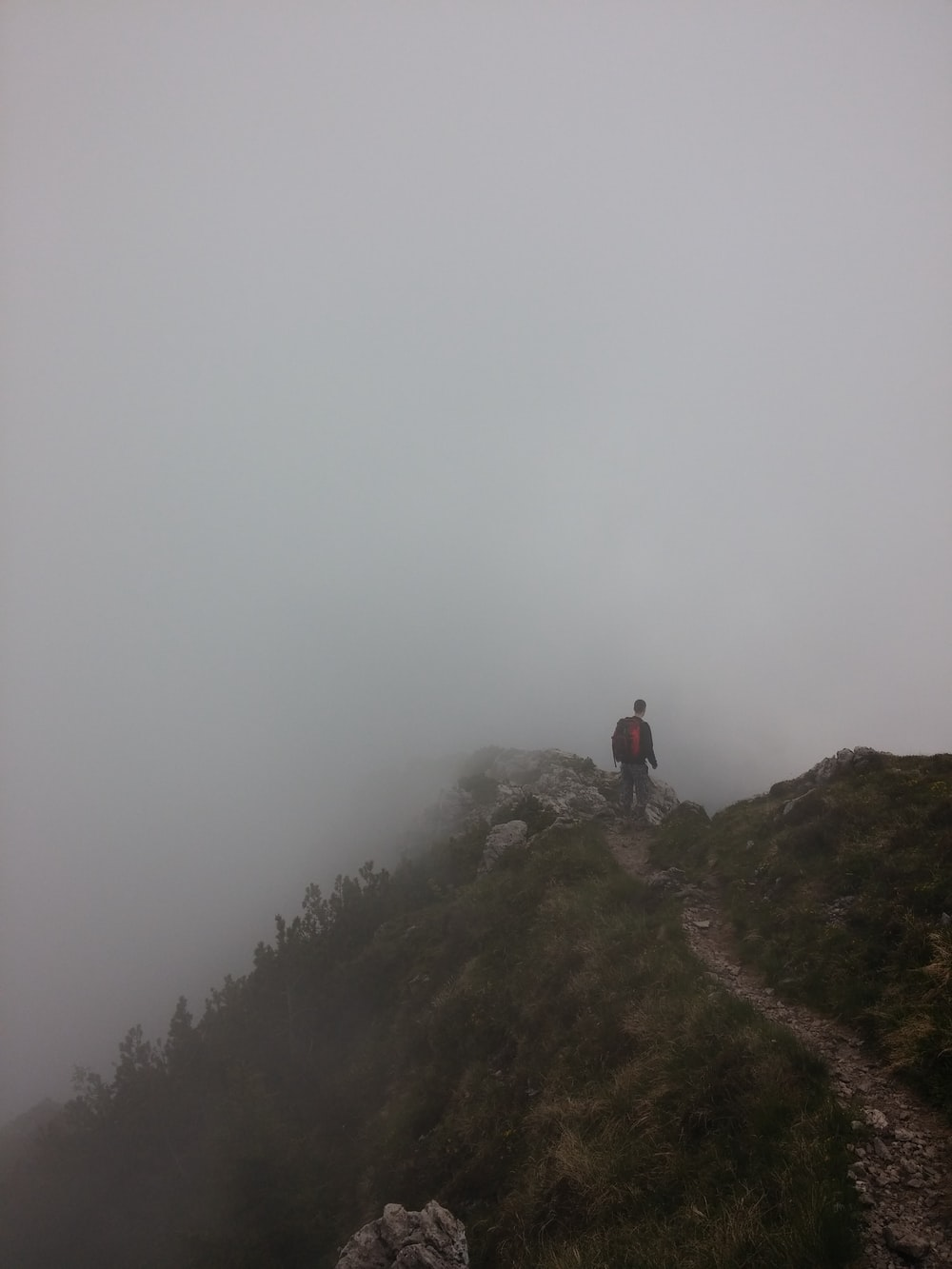 man standing on hill with fogs