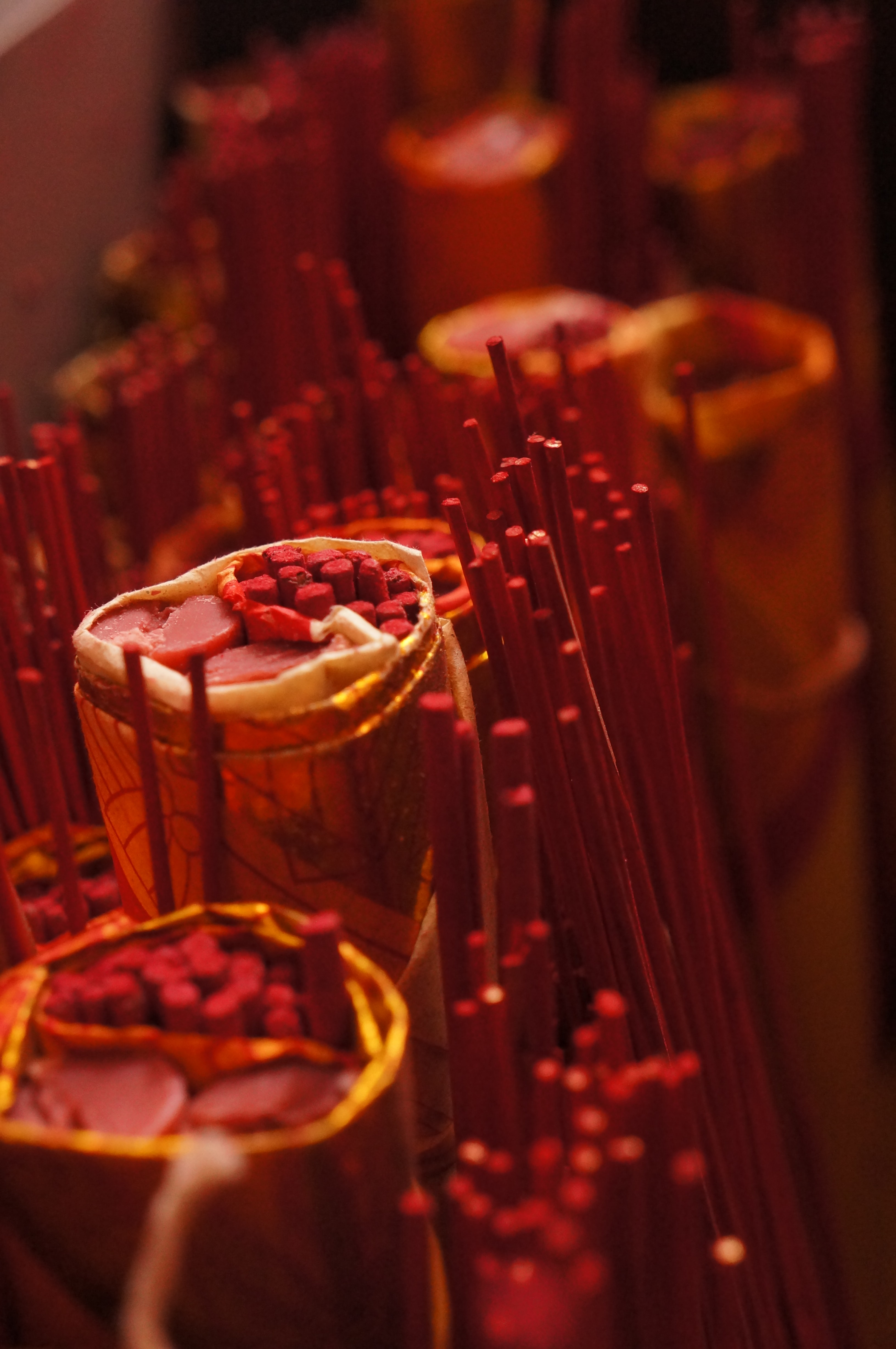 A collection of red incense sticks in Tangerang