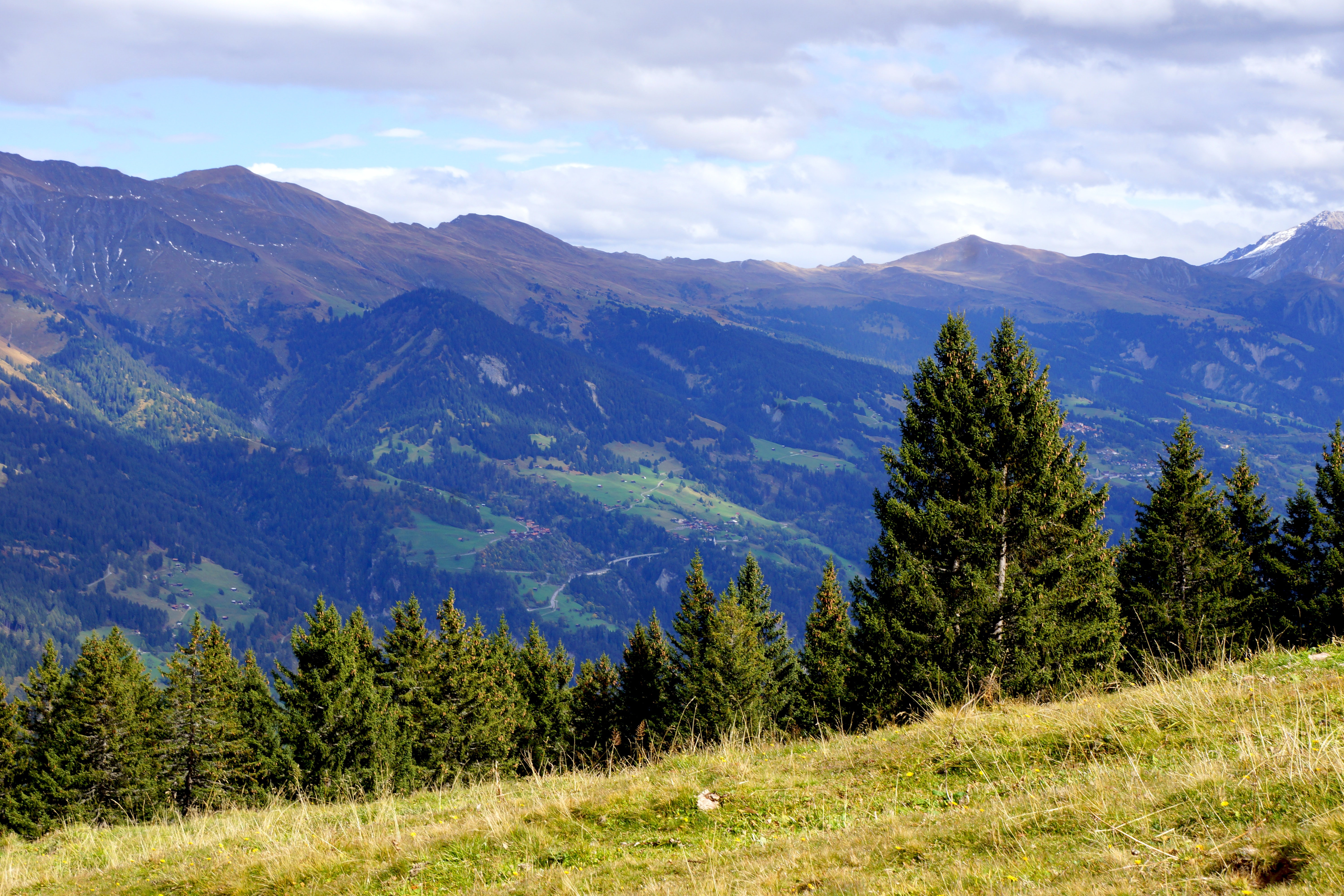 A view on the opposite mountain slope with woods and several villages in Schanfigg