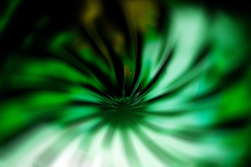 An abstract flower-like shape in green