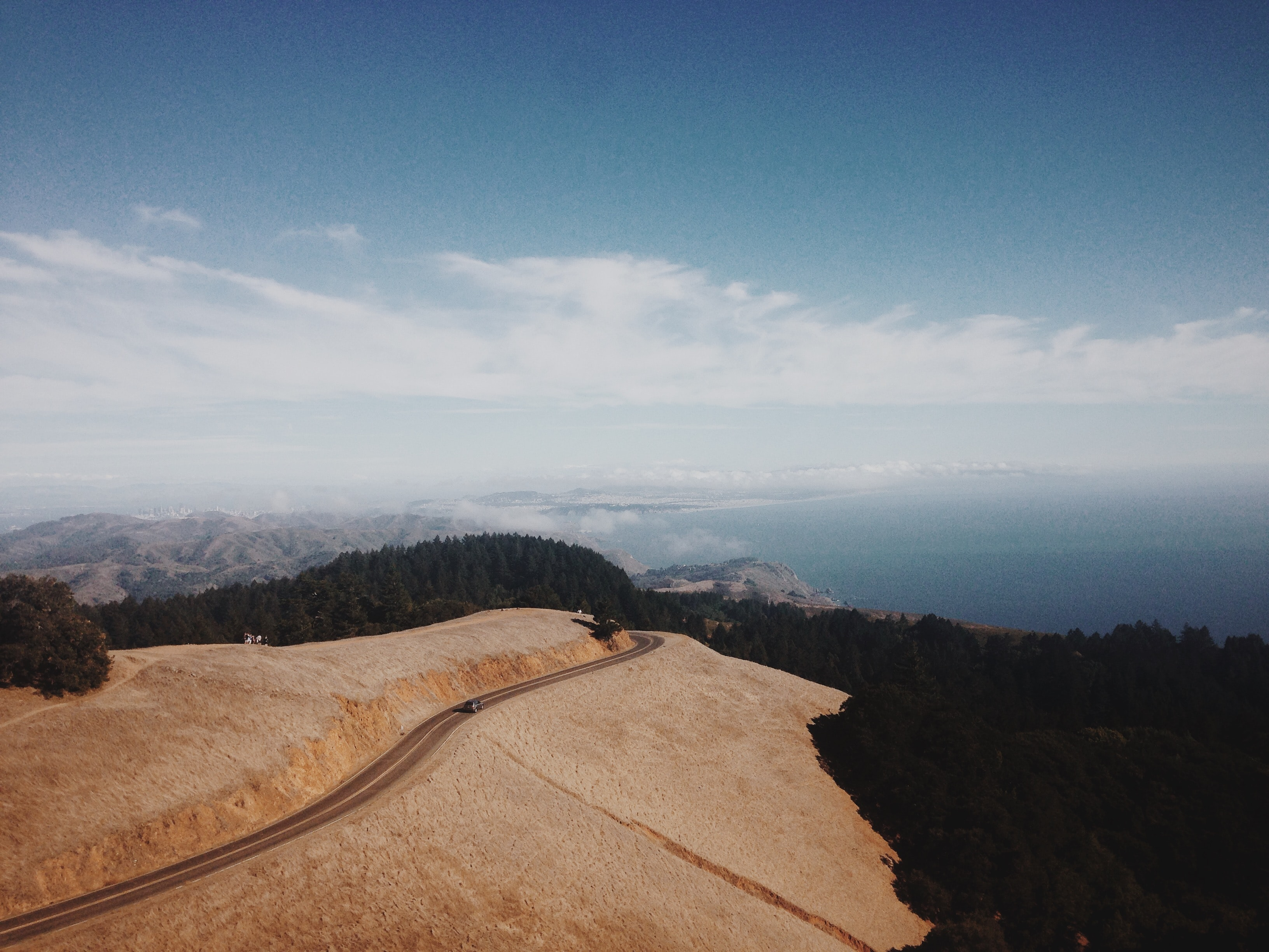 Long panoramic shot of forest highway and hillside with beautiful landscape at Mount Tamalpais