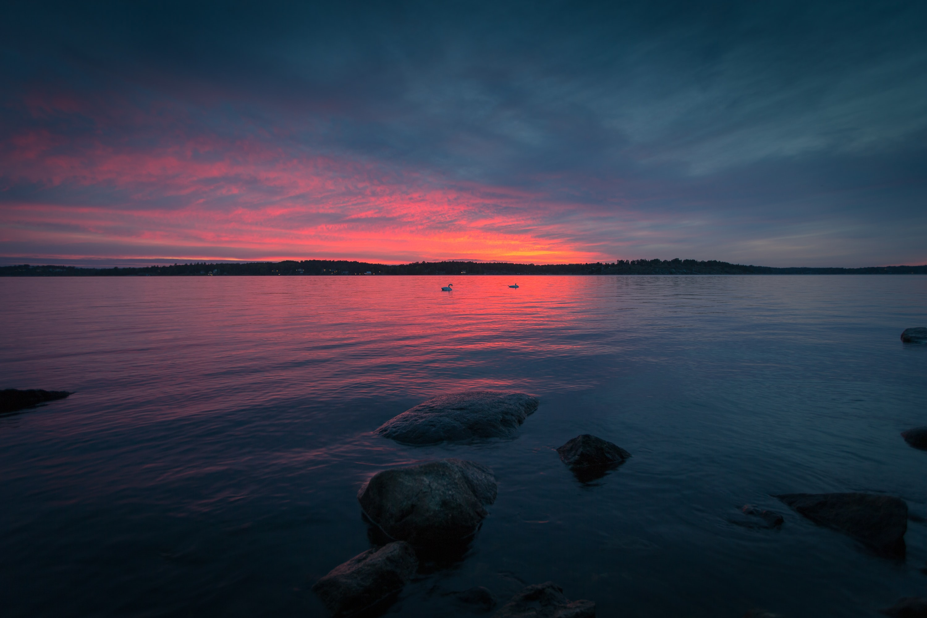 Landscape sunset with pink horizon and dark grey clouds over water with rocks in Stockholm.