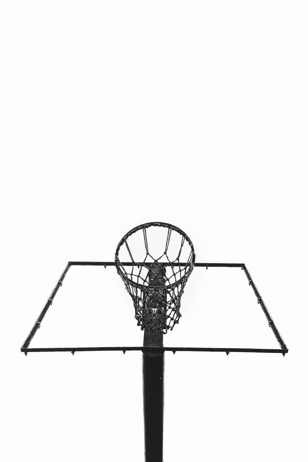 black and white basketball hoop