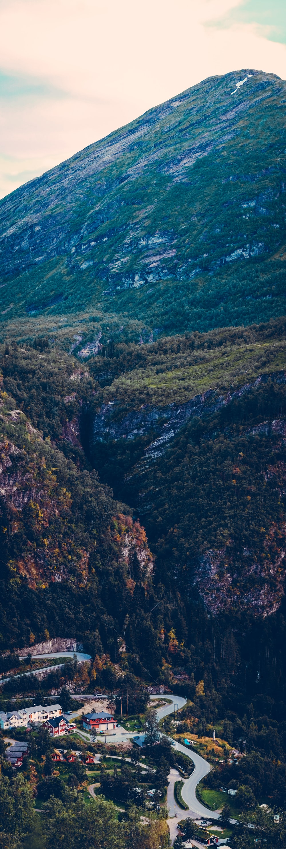 mountain range with wining road