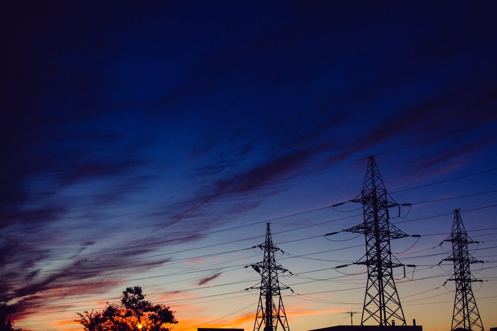 silhouette of tower lines