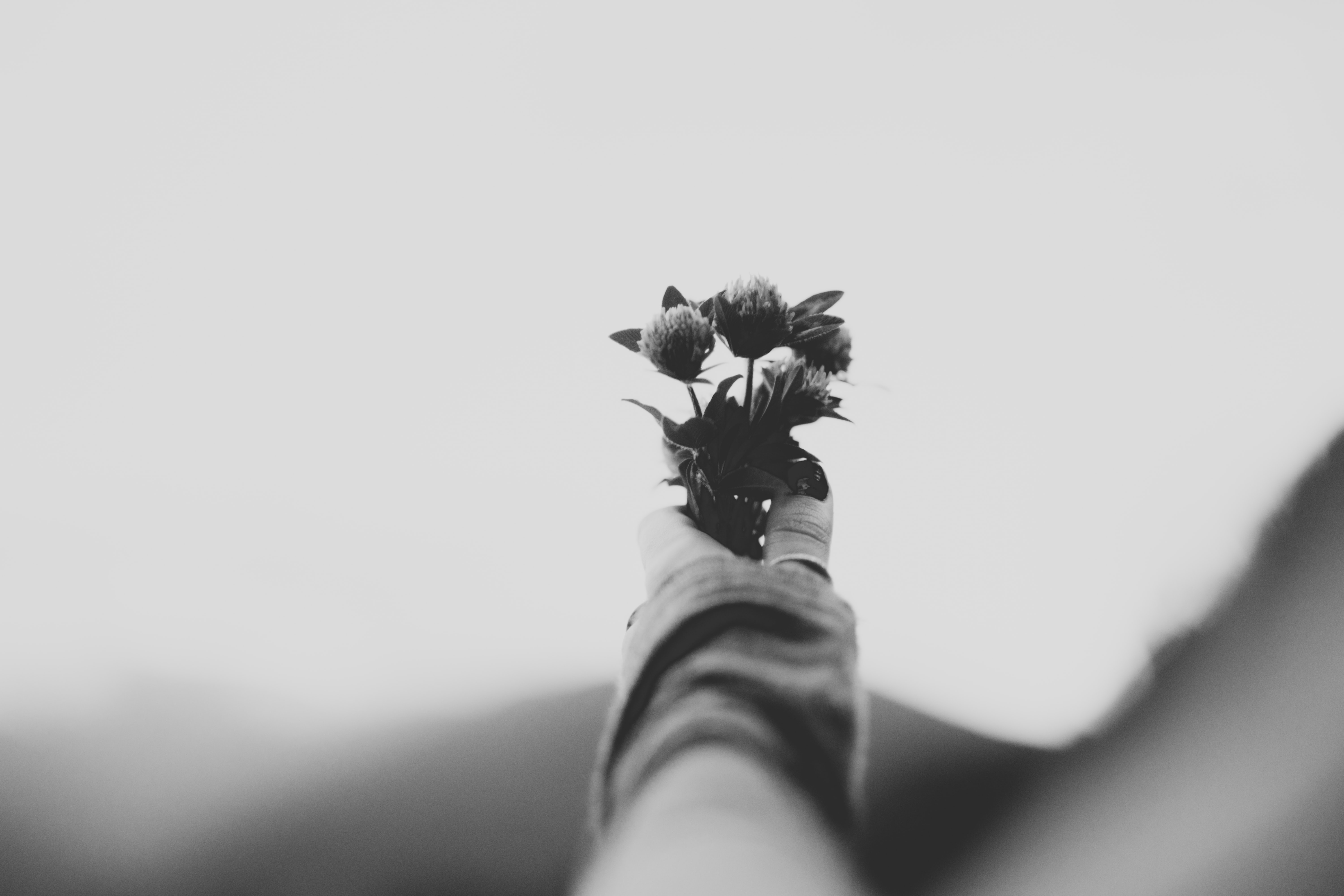 A black-and-white shot of a person's extended hand holding a small floral bouquet
