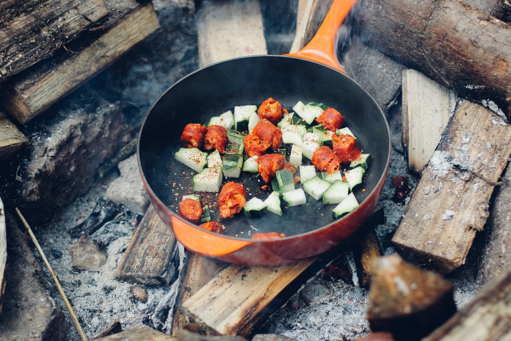 meat and vegetable on cooking pan