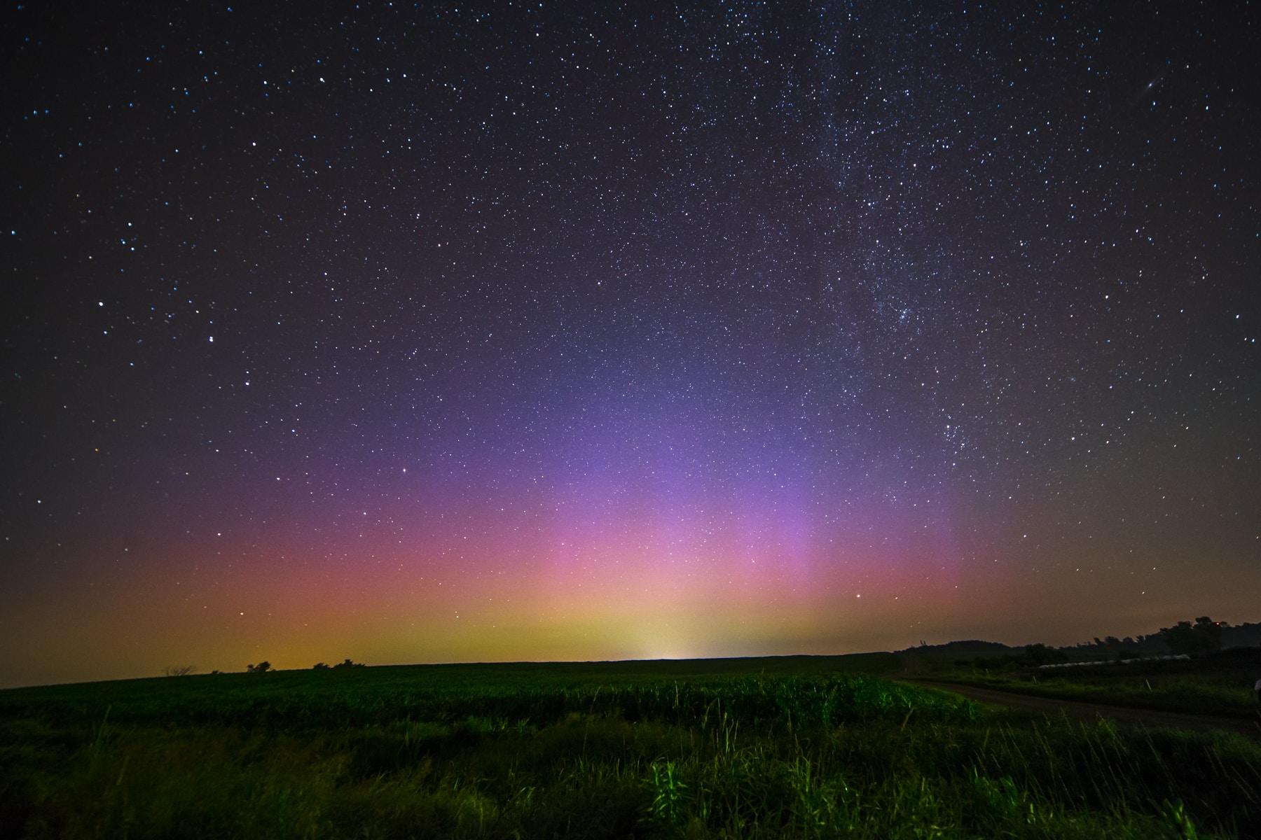 An aurora borealis and the night sky