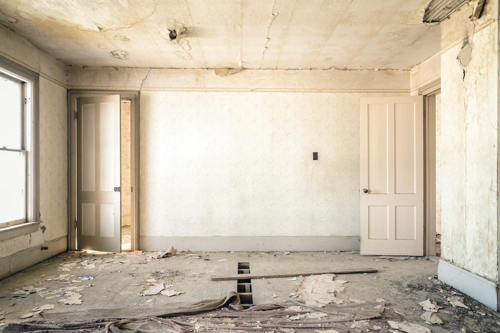 gray concrete walls with broken floor